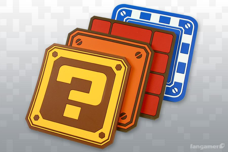 Mario block coaster set