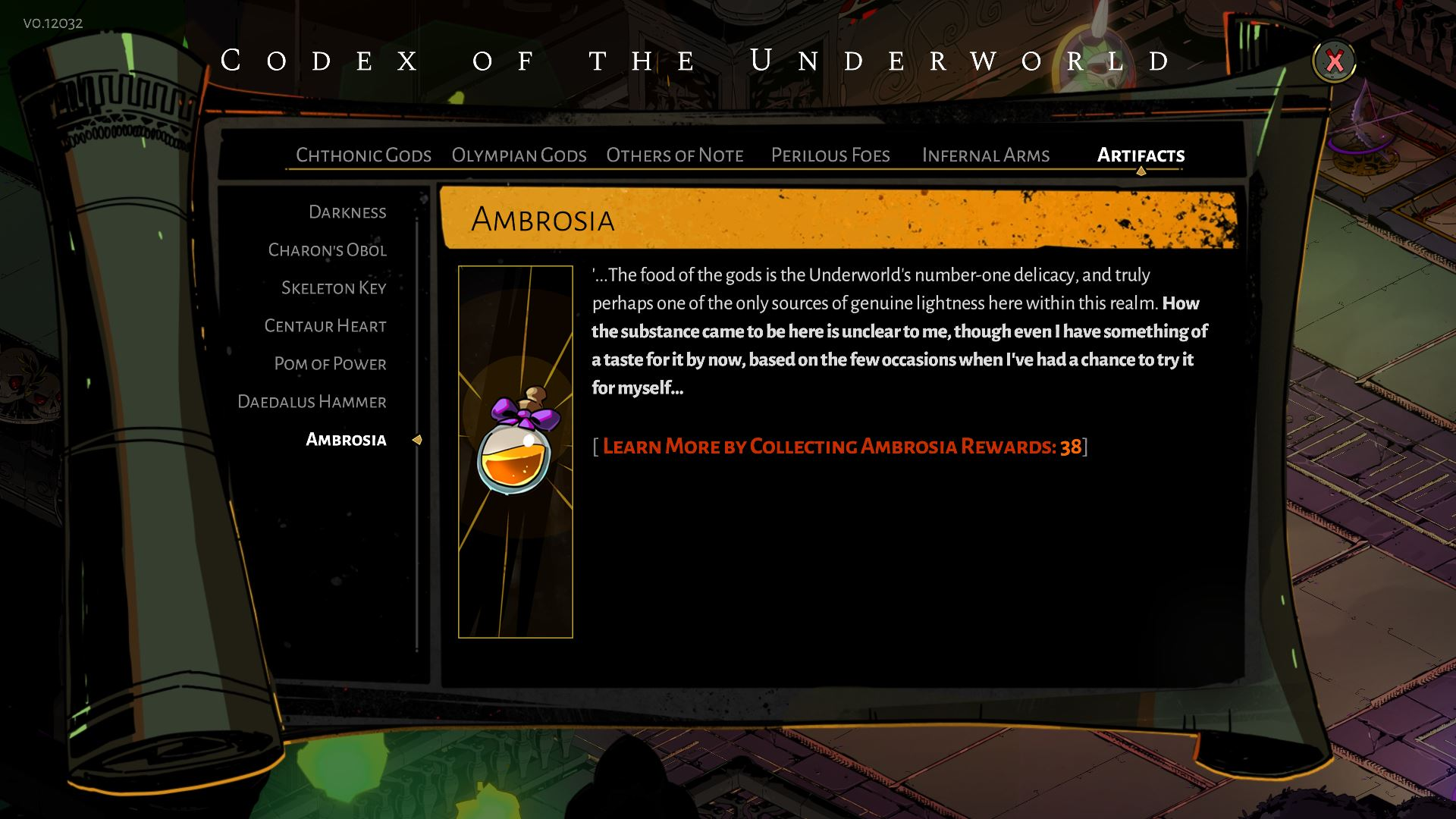 Ambrosia item in Hades