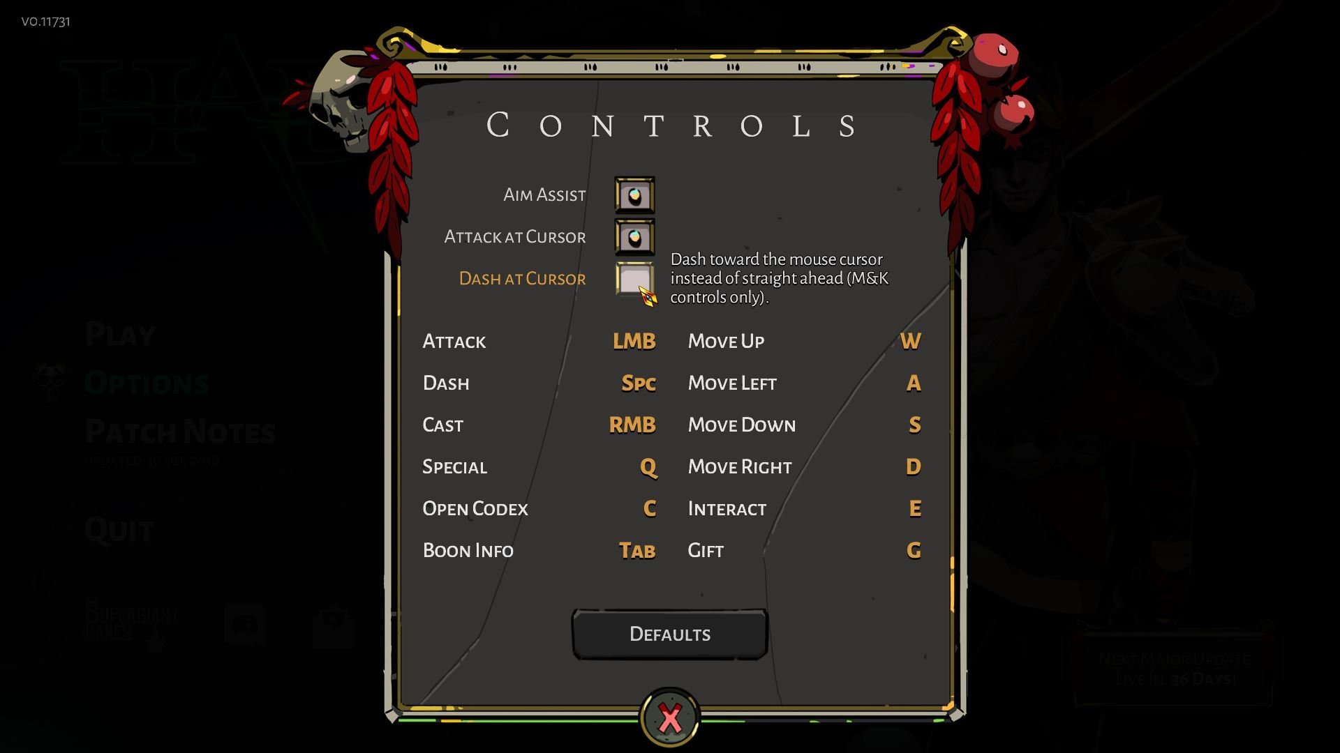 Hades controls and keybindings