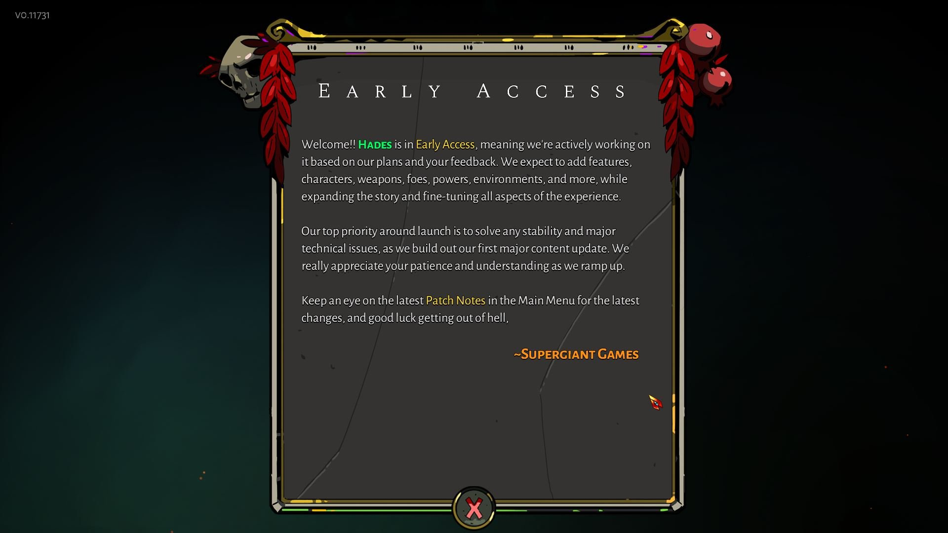 Hades Early Access message