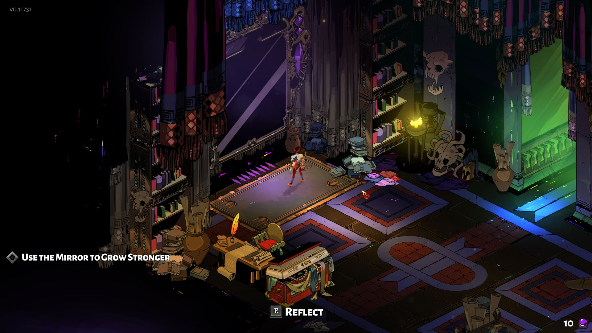 In the bedroom of Zagreus, you can upgrade his skills in the reflective mirror