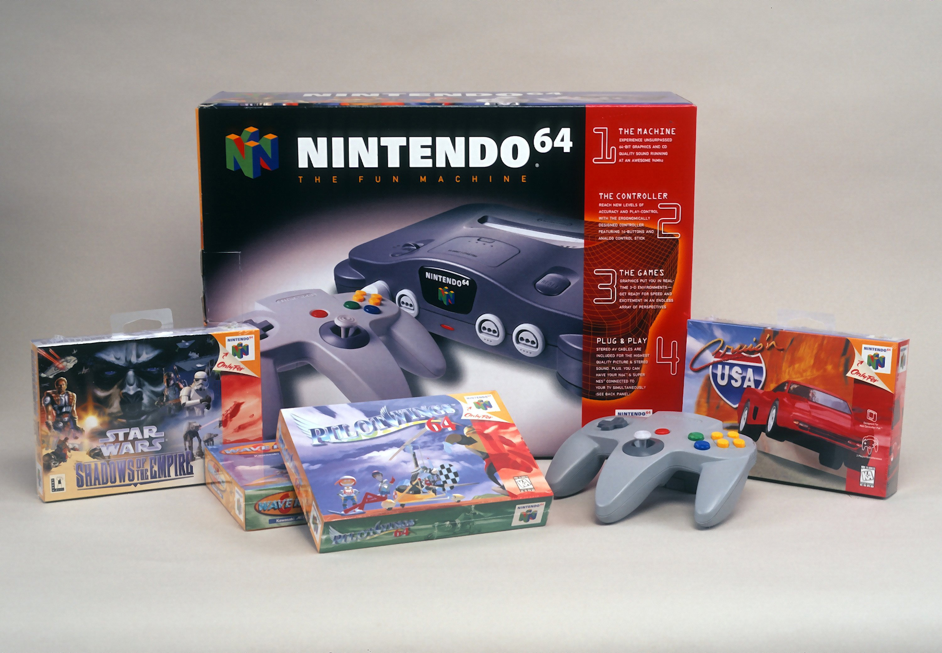 Nintendo 64 box and games