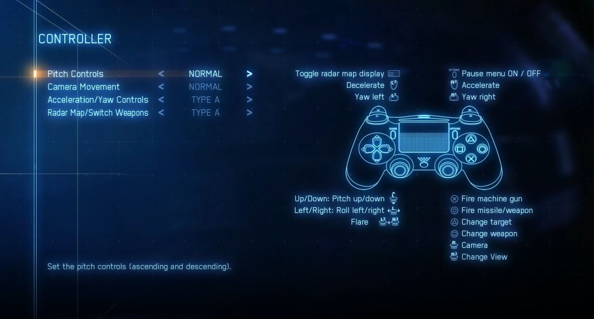 full expert PS4 controls for Ace Combat 7: Skies Unknown