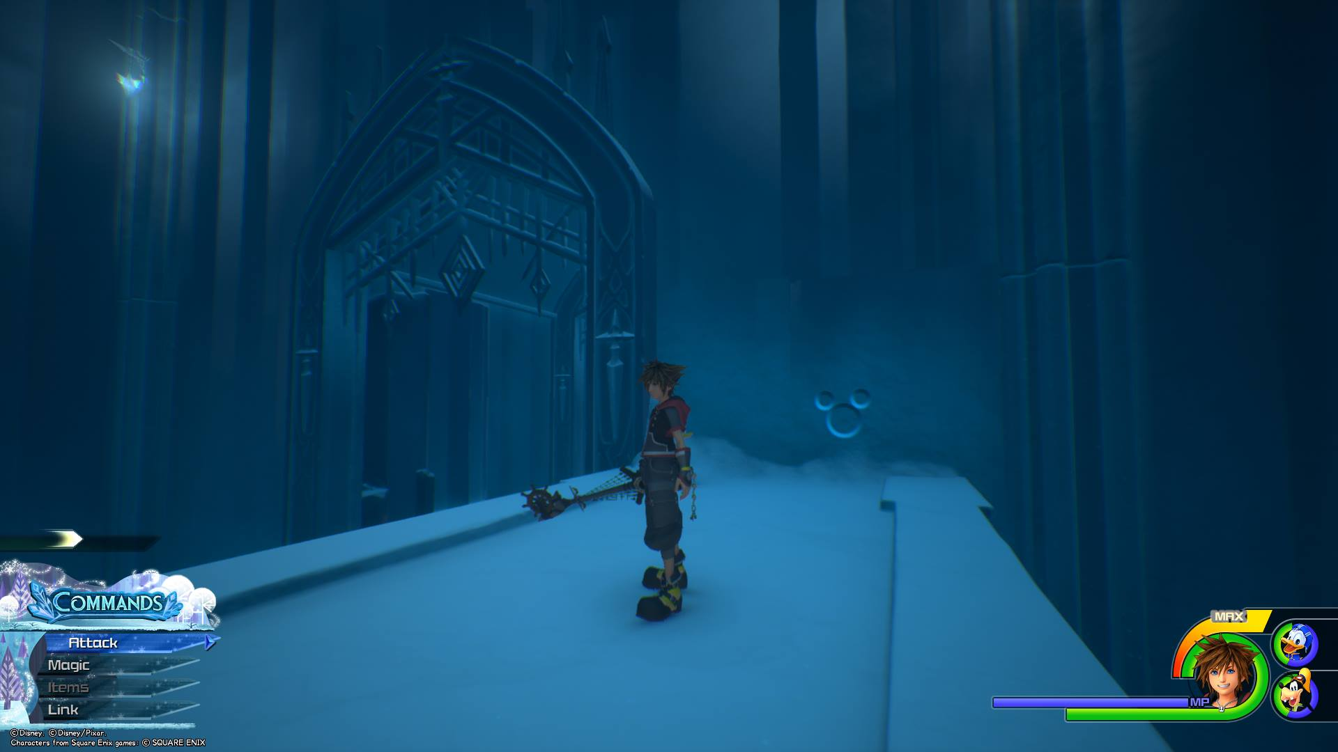 Head up through the Middle Tier of the Labyrinth until you encounter a room with an archway. Jump up to the top and look to your left, and you'll see the tenth Lucky Emblem.