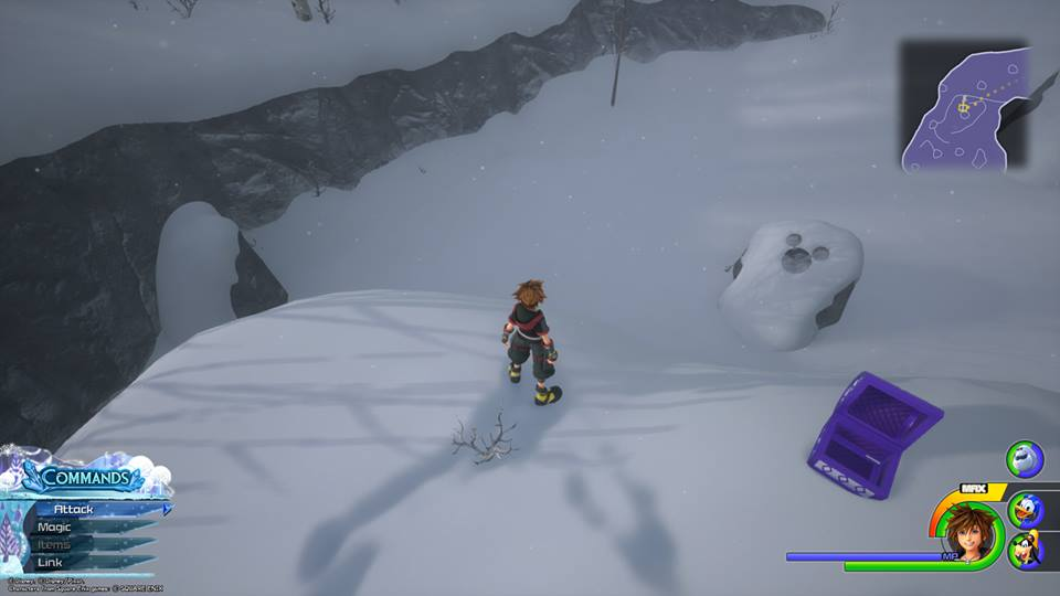 The first Lucky Emblem in Arendelle can be found by returning to the area where you climb past rocks during a windy blizzard.