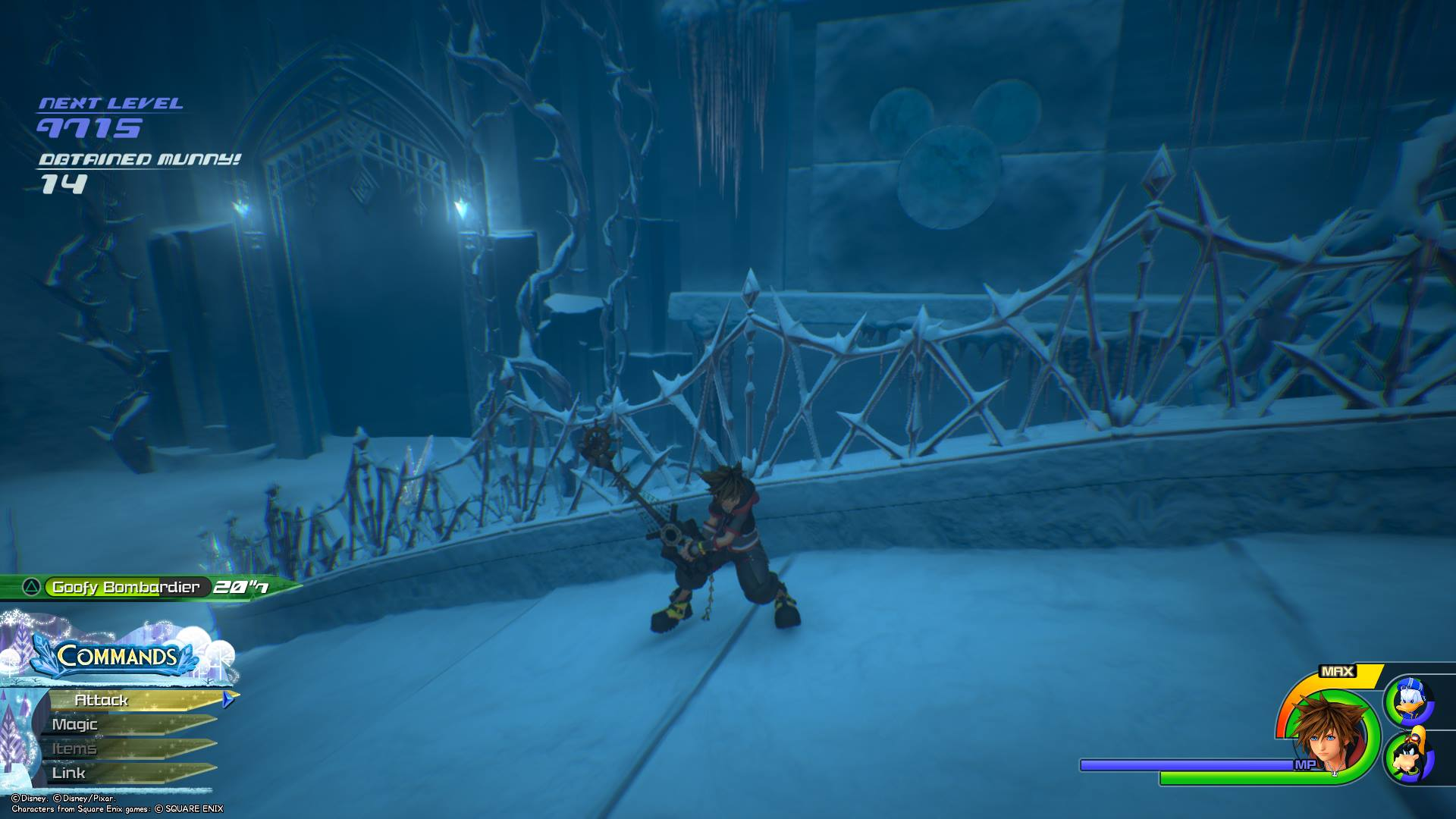 You can find the tenth Lucky Emblem in the Arendelle world of Kingdom Hearts 3 by ascending to the Middle Tier of the Labyrinth from the Lower Tier. Before you cross the bridge, look to your left. There, you should be able to see a large Lucky Emblem imprinted on the wall.