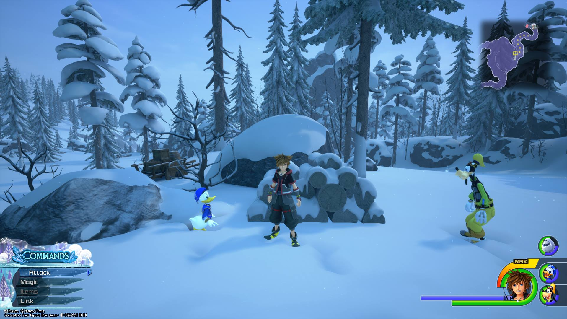 Head up and right from the Foothills spawn until you find a pile of logs. By viewing the logs from the front, you'll be able to capture the second Lucky Emblem in Arendelle.