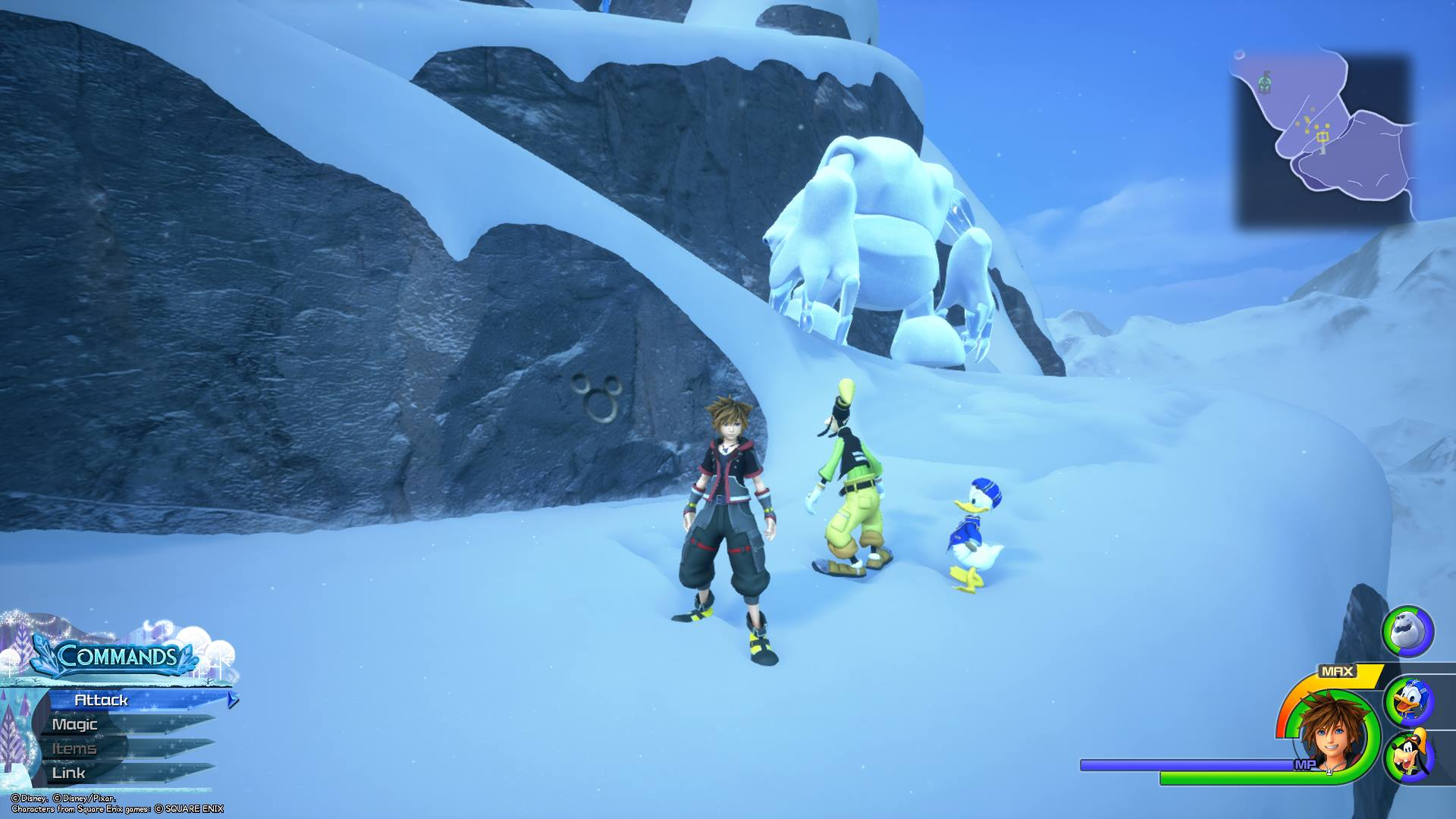 Spawn in at Mountain Ridge, then jump over the side of the cliff and head past three small hills to find the fourth Lucky Emblem in Arendelle.