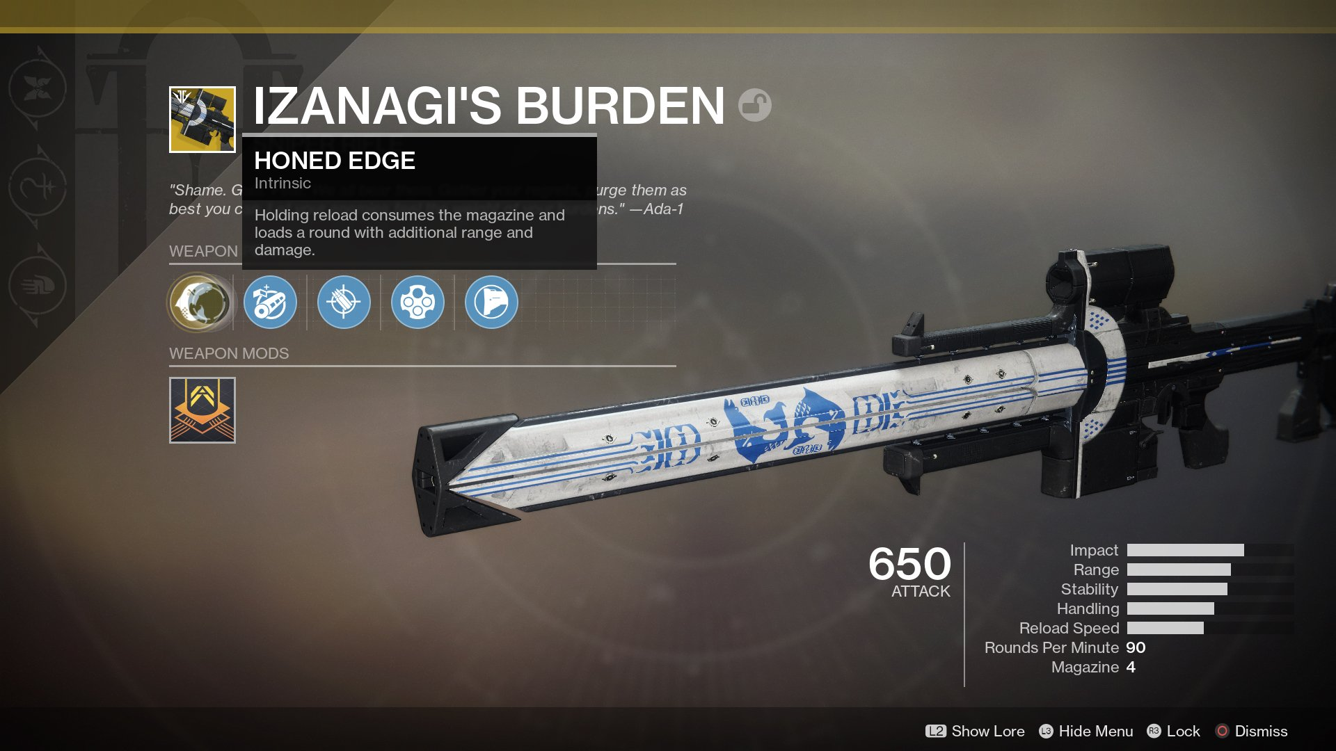 By unlocking all four locks on the Mysterious Box, you'll be able to obtain the Izanagi's Burden Exotic sniper rifle in Destiny 2.