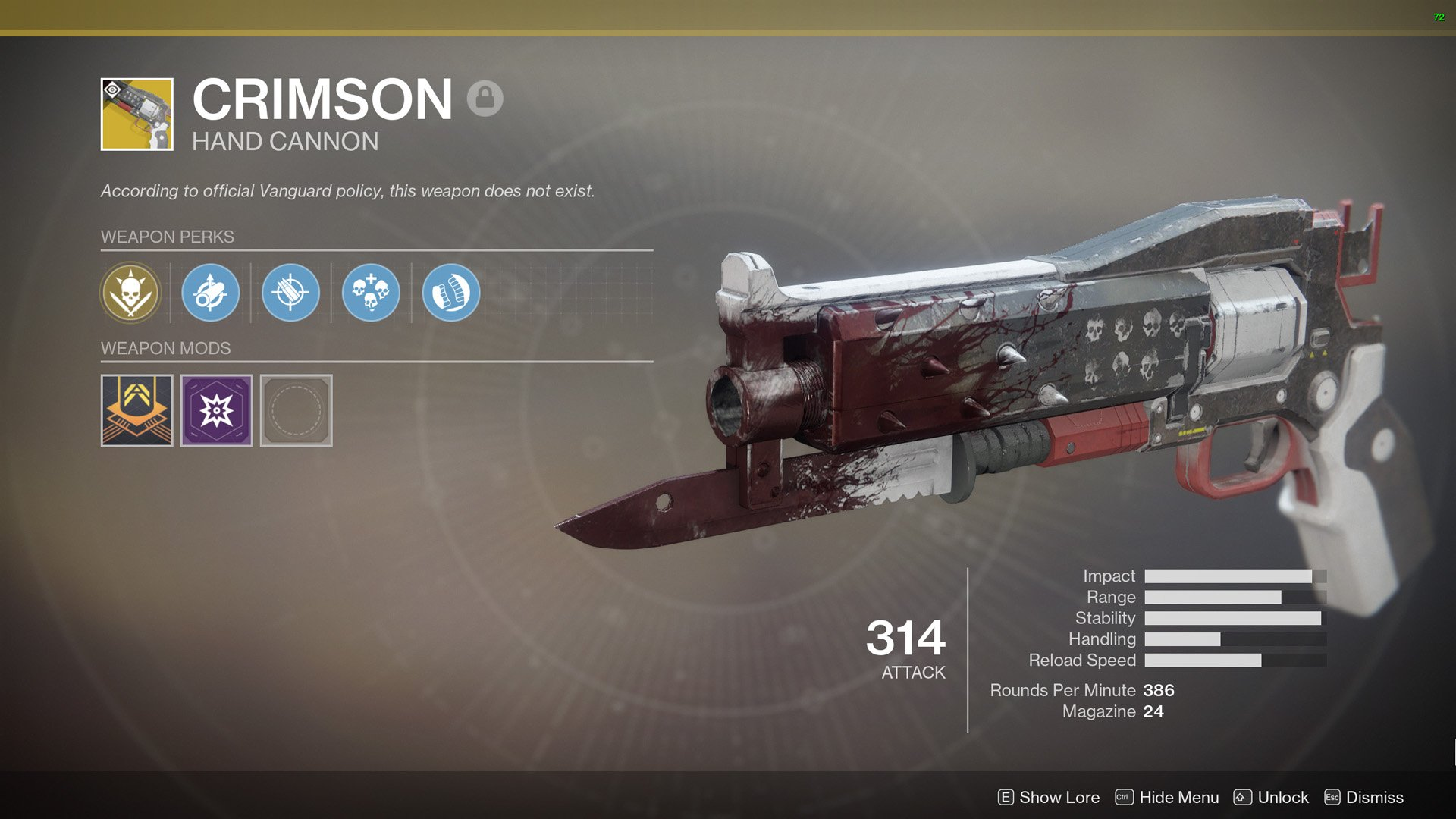 During the week of January 25, you can pick up the Crimson Exotic hand cannon from Xur for 29 Legendary Shards.
