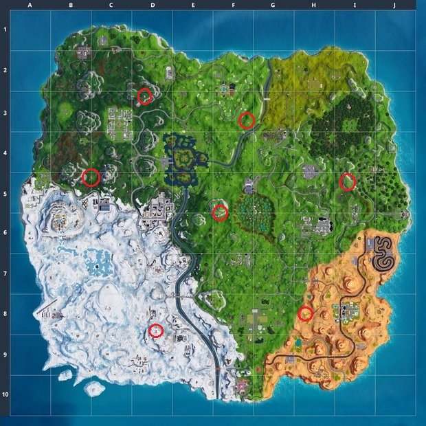 Map showing all Expedition Outpost locations in Fortnite