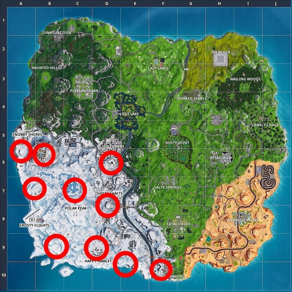 All search chilly gnome locations in Fortnite Season 7