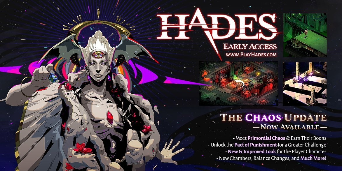 The Chaos Update adds Primordial Chaos to Hades alongside a laundry list of bug fixes and improvements.