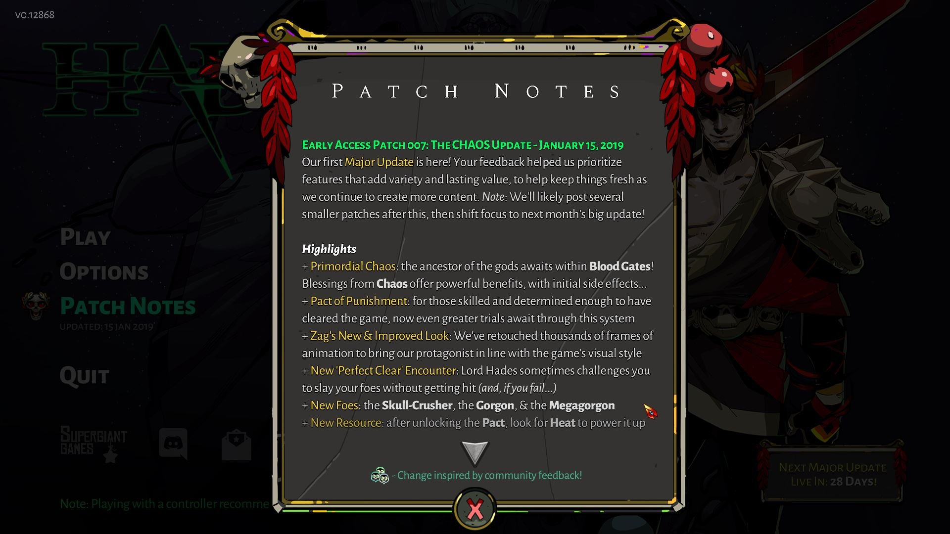 The Chaos Update has been added to Hades, bringing with it a plethora of new content and improvements.