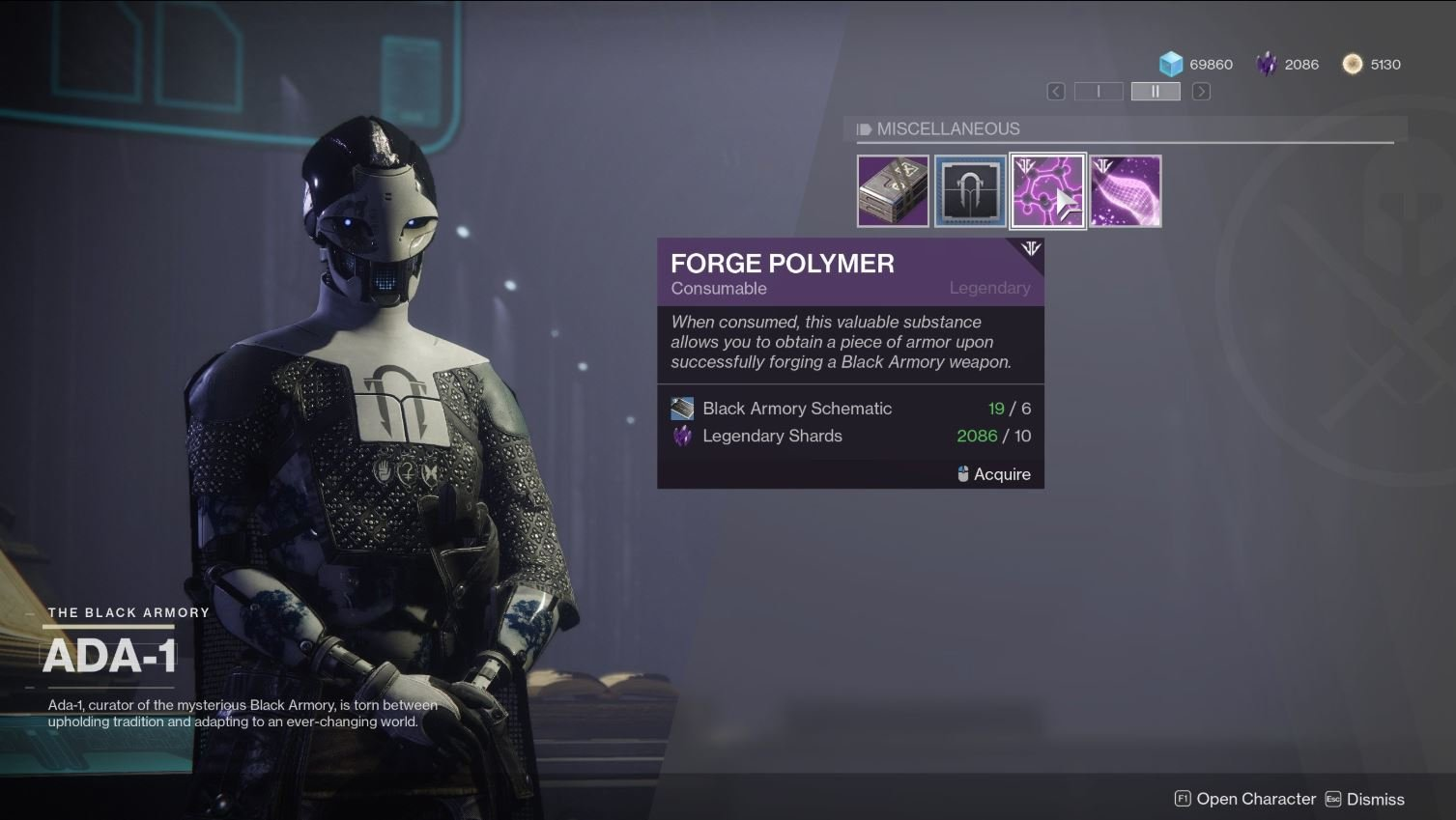 You can get Forge Polymer by purchasing it from ADA-1 in Destiny 2.