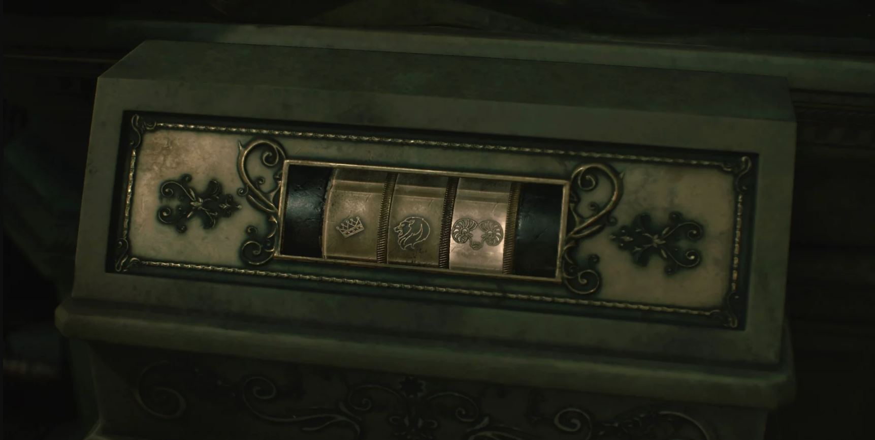 Input 3 symbols to solve the Lion Statue Puzzle in the 1-Shot demo for Resident Evil 2.