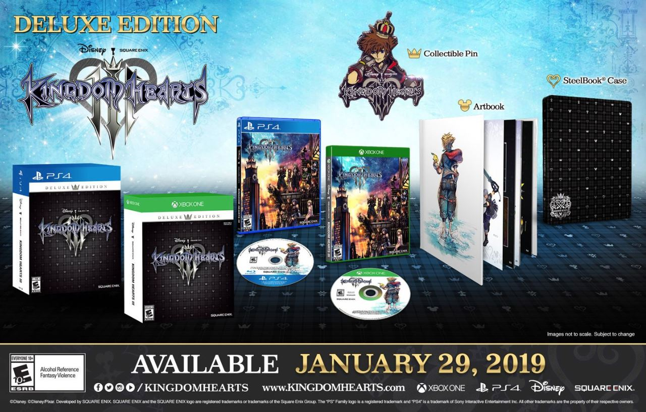 The Deluxe Edition of Kingdom Hearts 3 includes an artbook, collectible pin, and steelbook case.