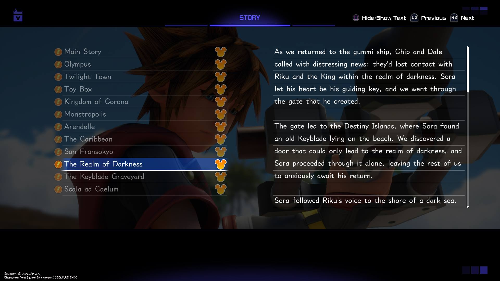 The 9th world to unlock in Kingdom Hearts 3 is the Realm of Darkness which acts as an intro to The Keyblade Graveyard.