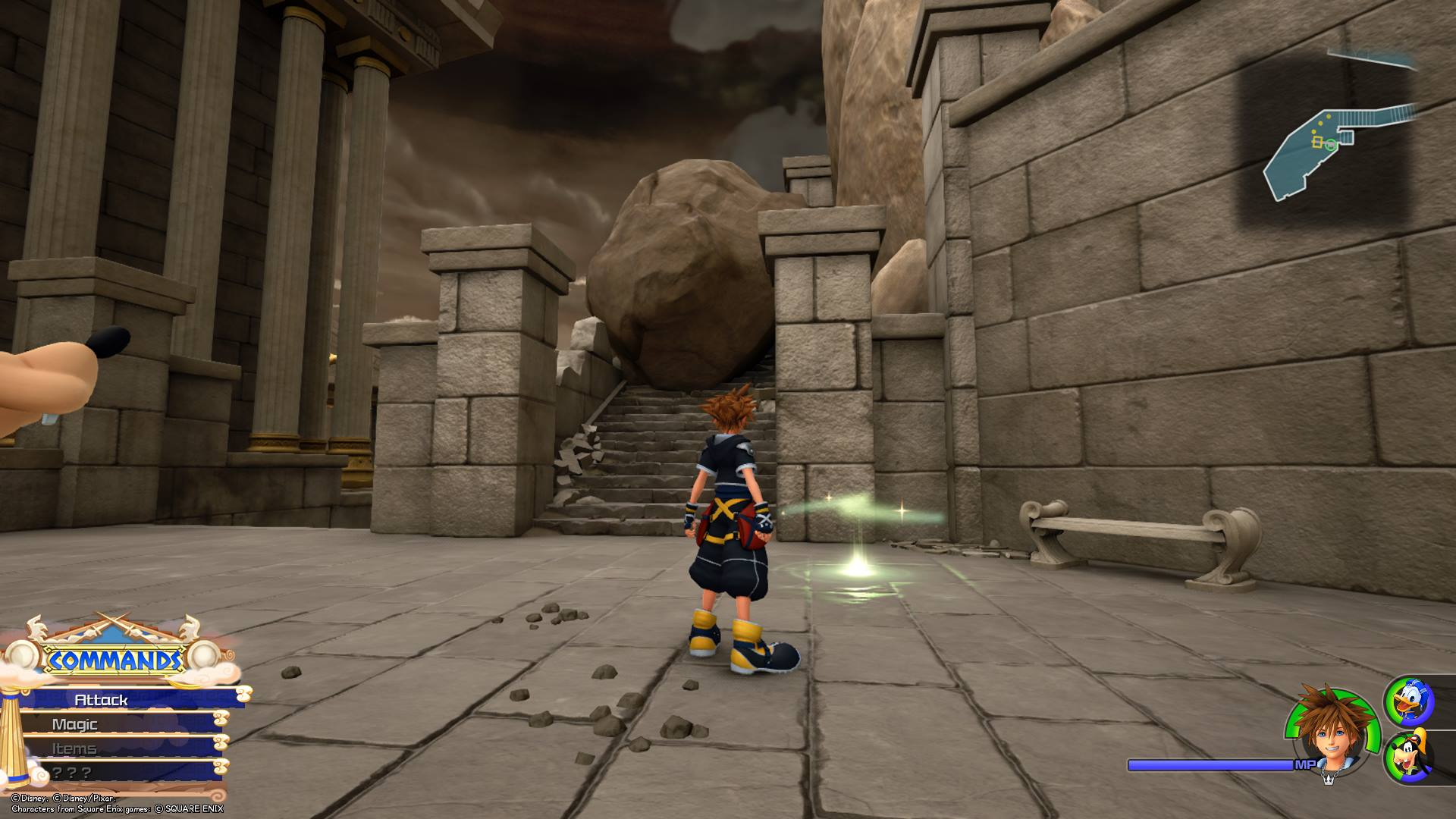 Save points appear as glowing green circles of light in Kingdom Hearts 3.
