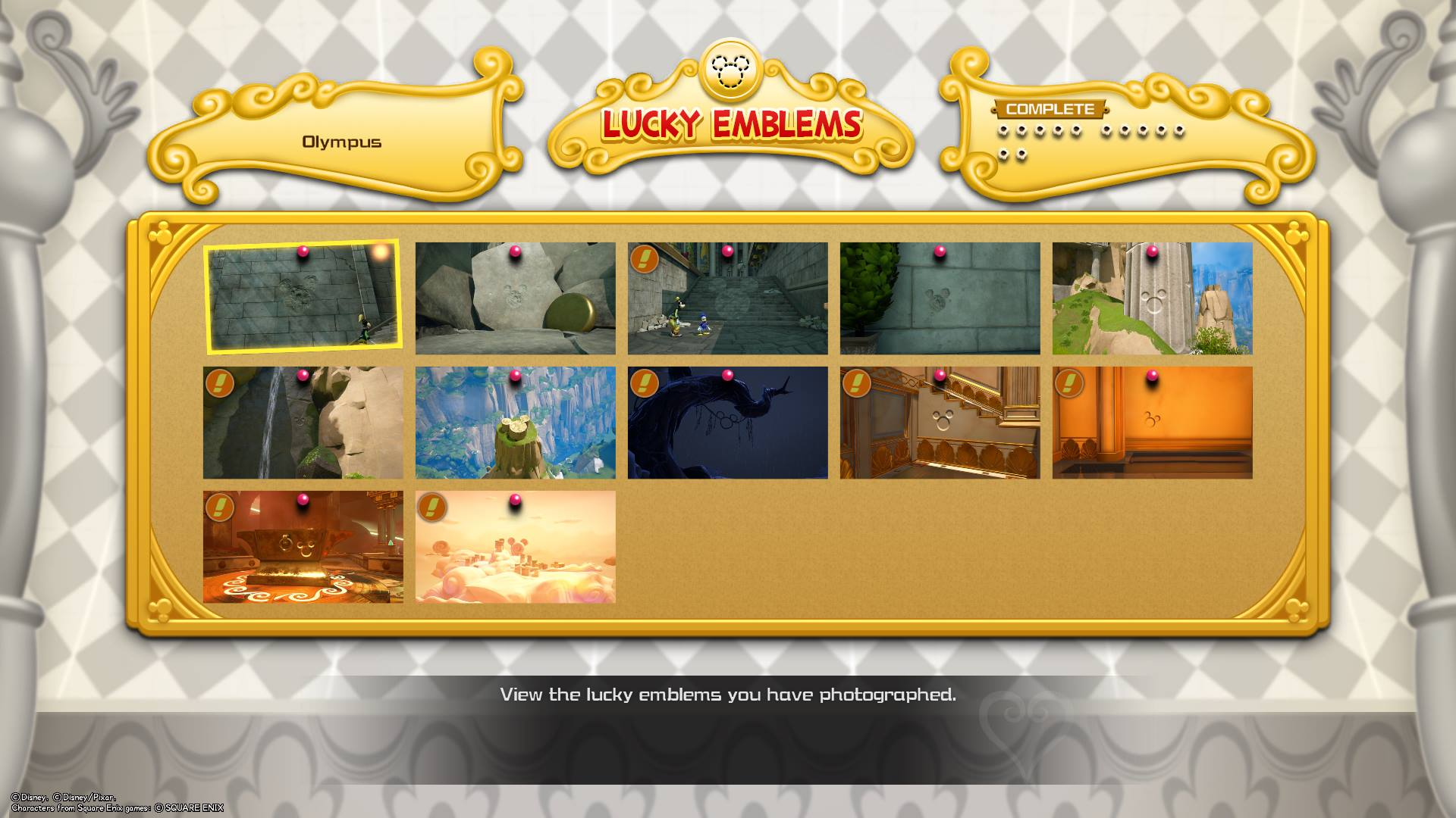 All Lucky Emblems in Olympus - Kingdom Hearts 3.