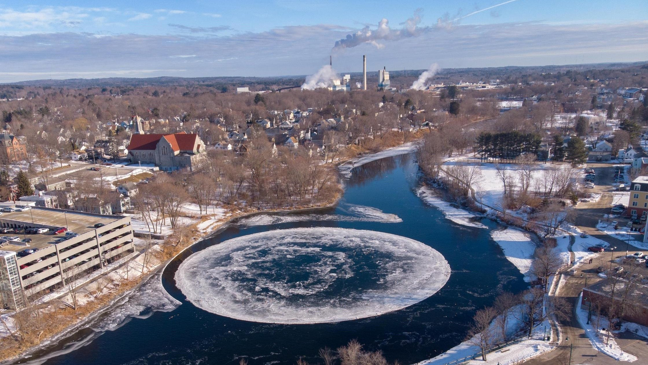 An ice disk has appeared in Westbrook, Maine that's reminiscent of the ice ball over Polar Peak in Fortnite.