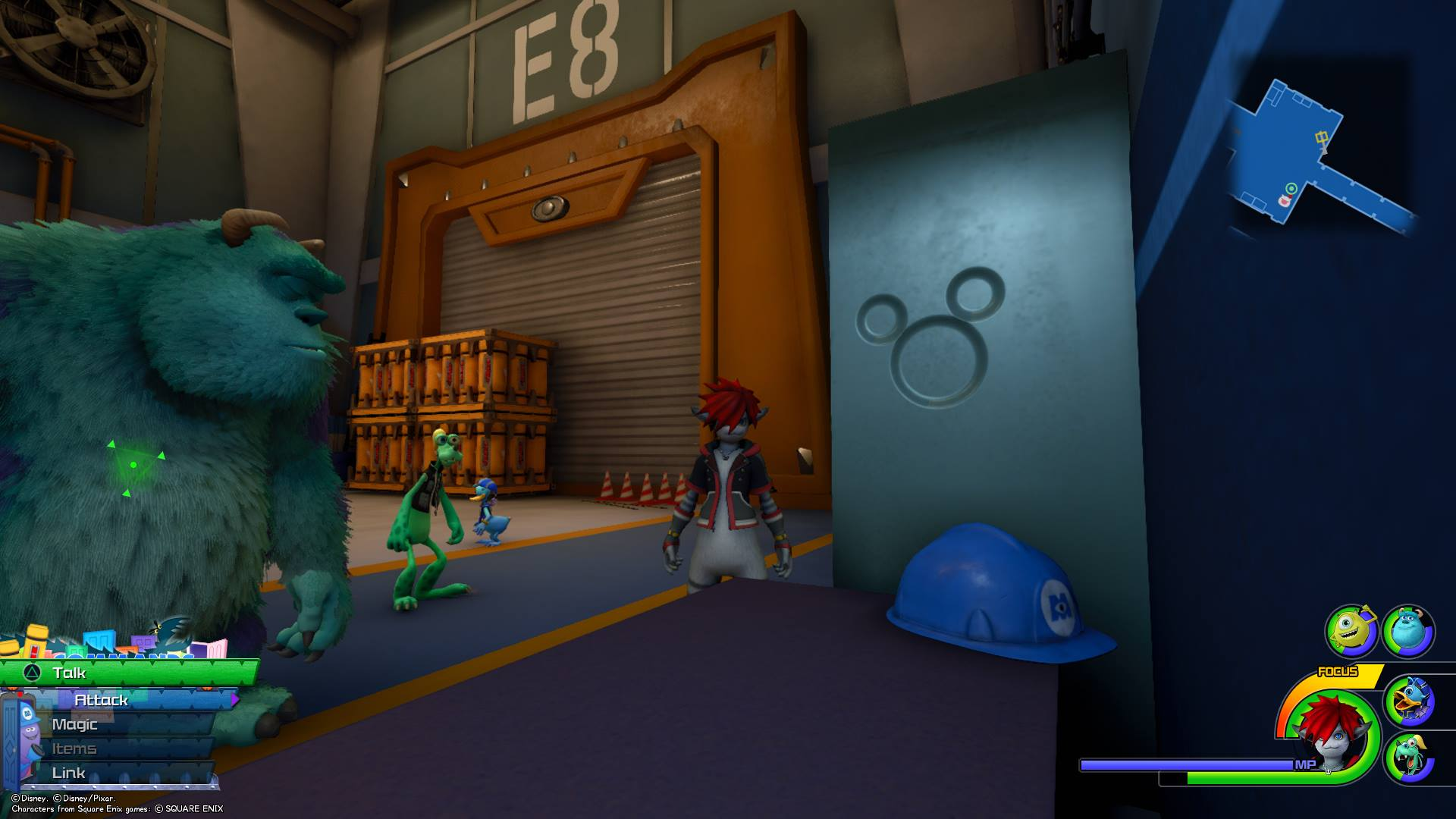 When you reach the Power Plant save room, look at the desk with the hard hat on it. On the side of a cabinet, you'll find the eighth Lucky Emblem.