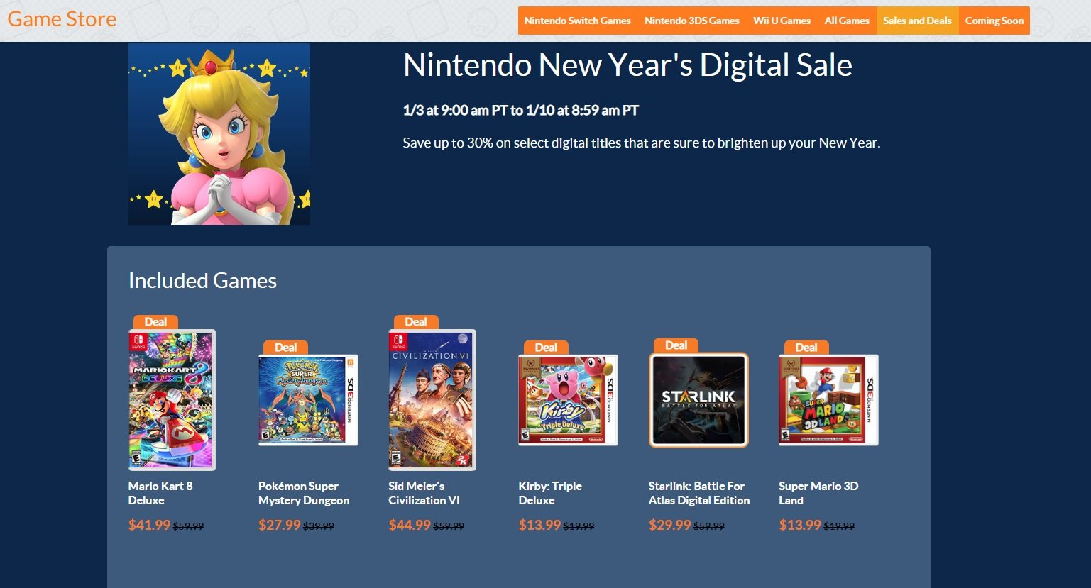 Deals available as part of Nintendo's New Year's Digital Sale