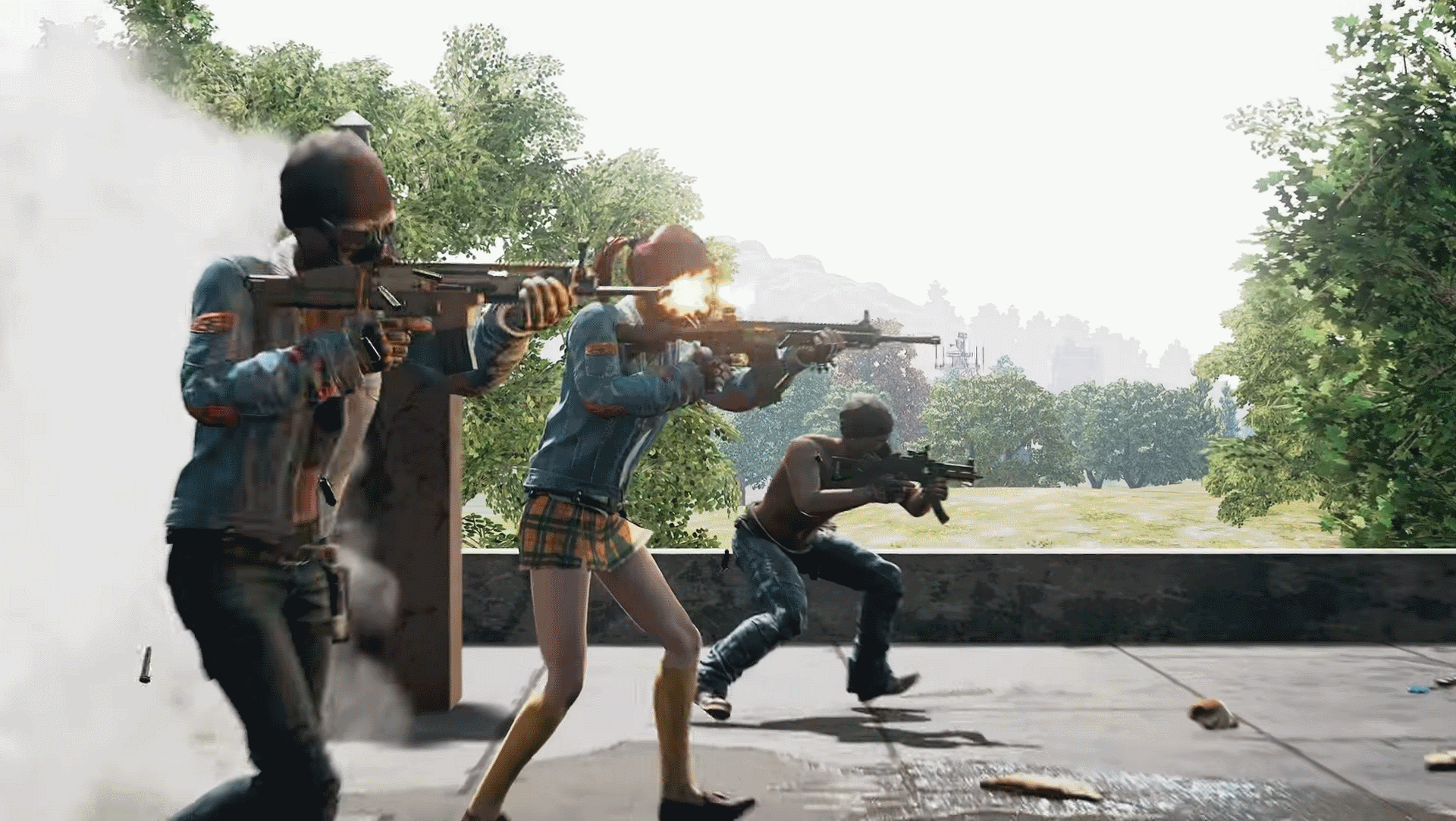 Several players fire guns on a rooftop - The best launch options for PUBG