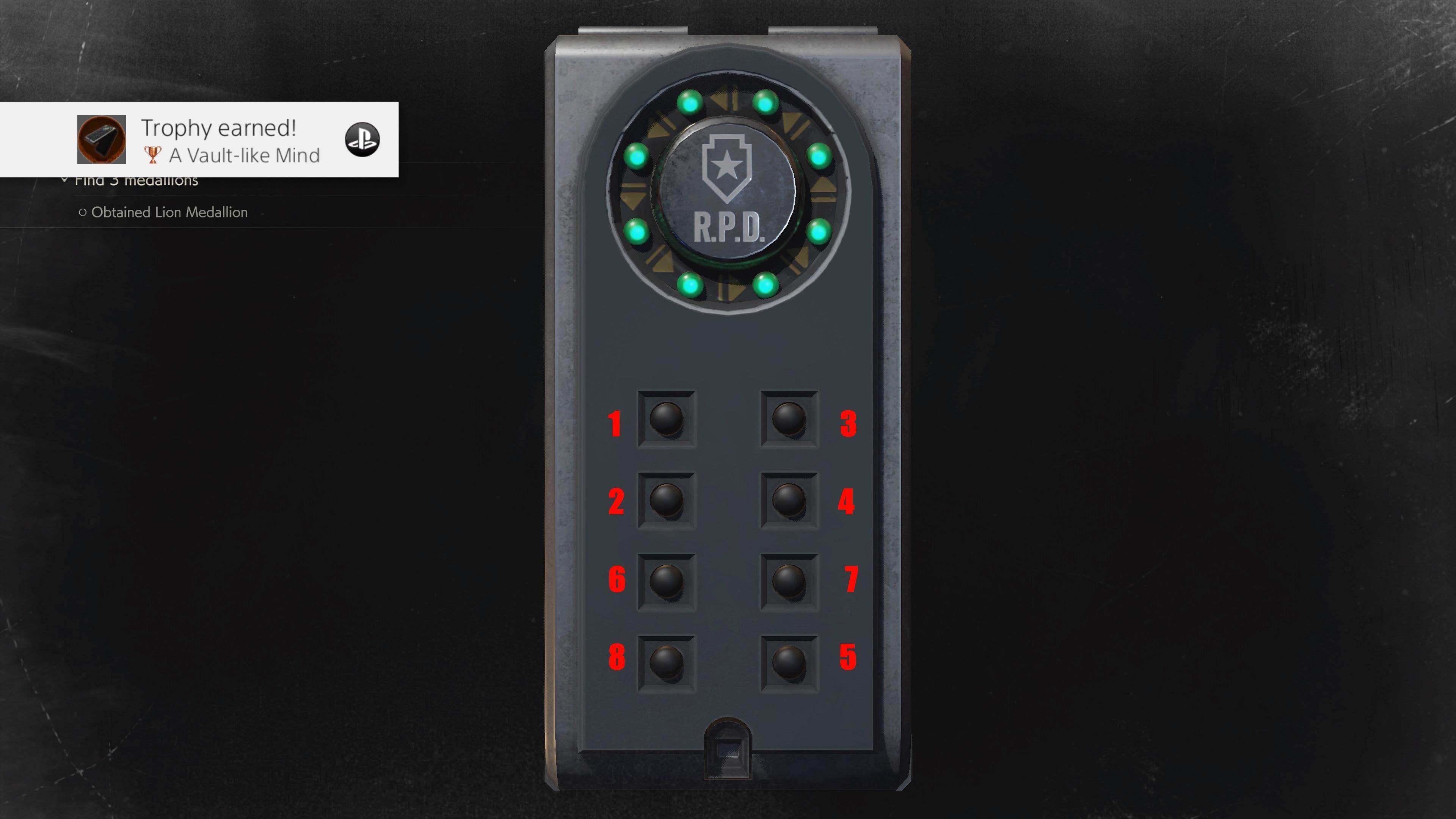 Shower Room Portable Safe solution in Resident Evil 2