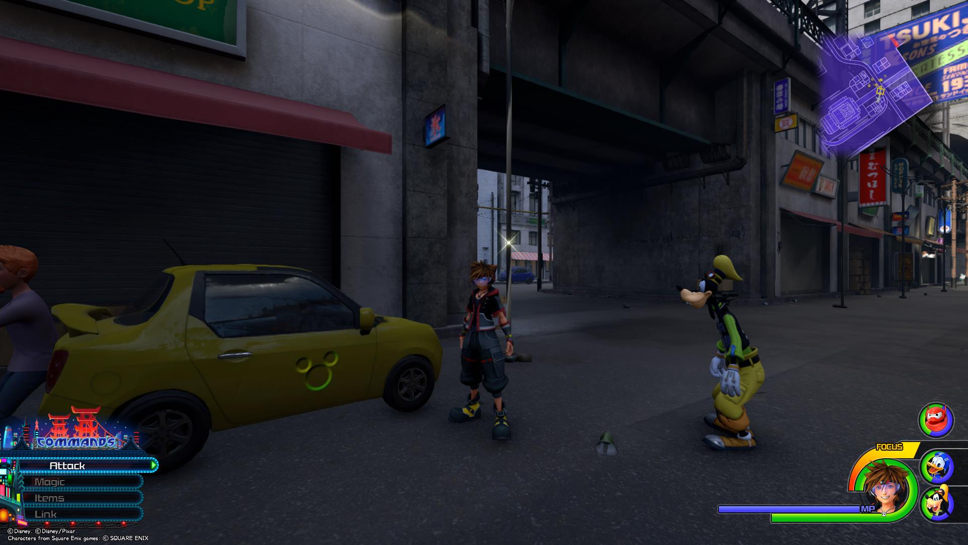 In an alley at the edge of the North District, you'll find a taxi with the sixth Lucky Emblem.