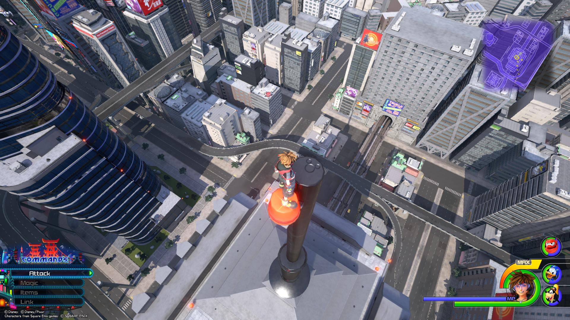 Directly behind where you found the eighth Lucky Emblem, climb up the building, then Airstep to the top of a pole to find the ninth Lucky Emblem.