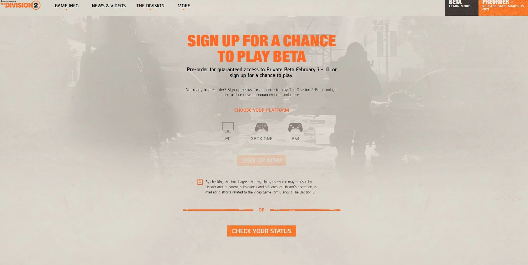 You can sign up for closed beta access on the website for Tom Clancy's The Division 2.