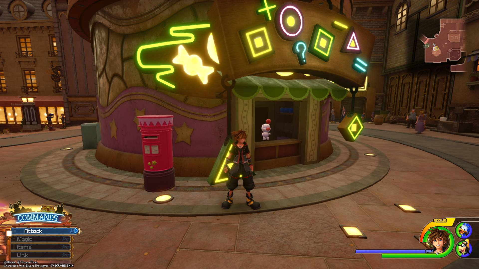 Interact with the red mailbox to the left of the Moogle Shop in Twilight Town to mail your Postcards in Kingdom Hearts 3.