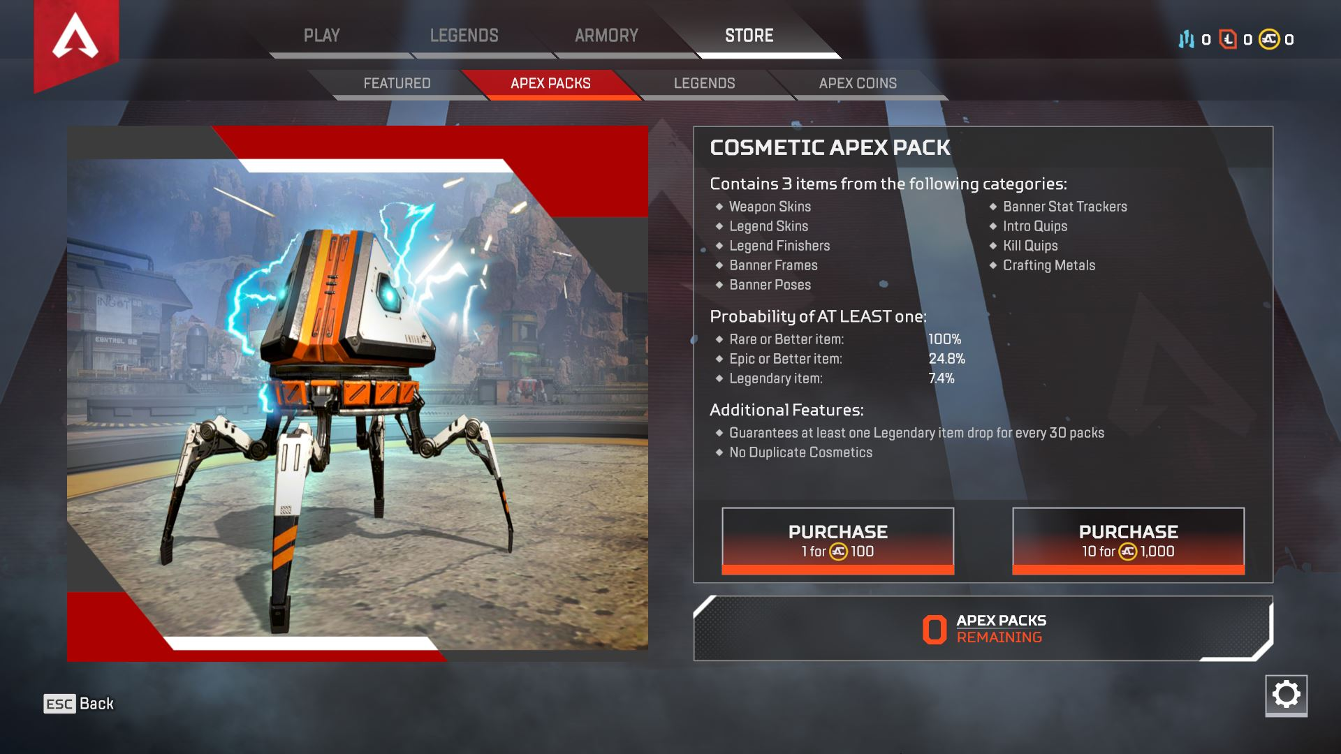 You can earn cosmetic items by opening Apex Packs in Apex Legends.