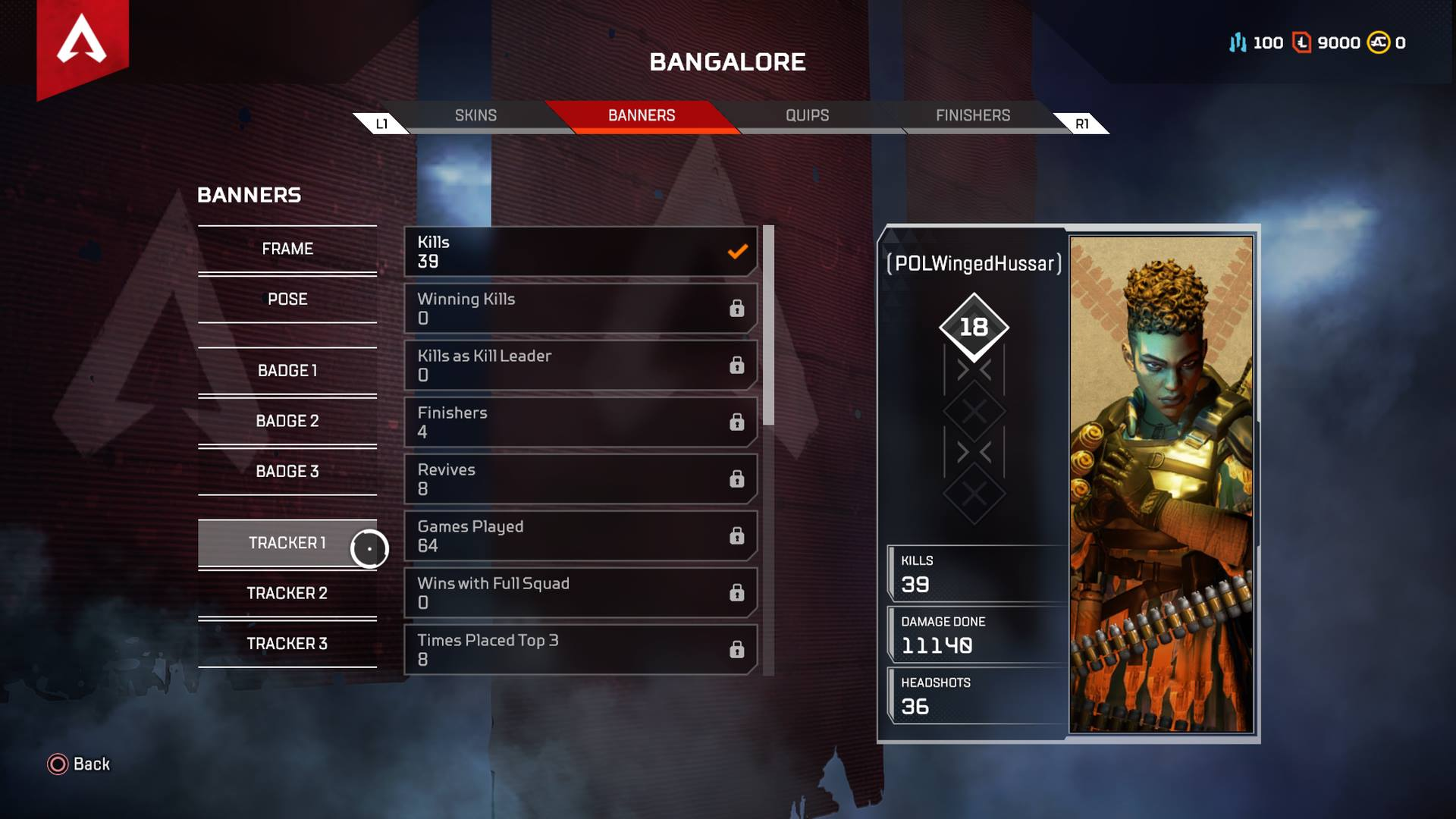 Select your favorite Legend, then interact with the Tracker option to view your stats for that character in Apex Legends.