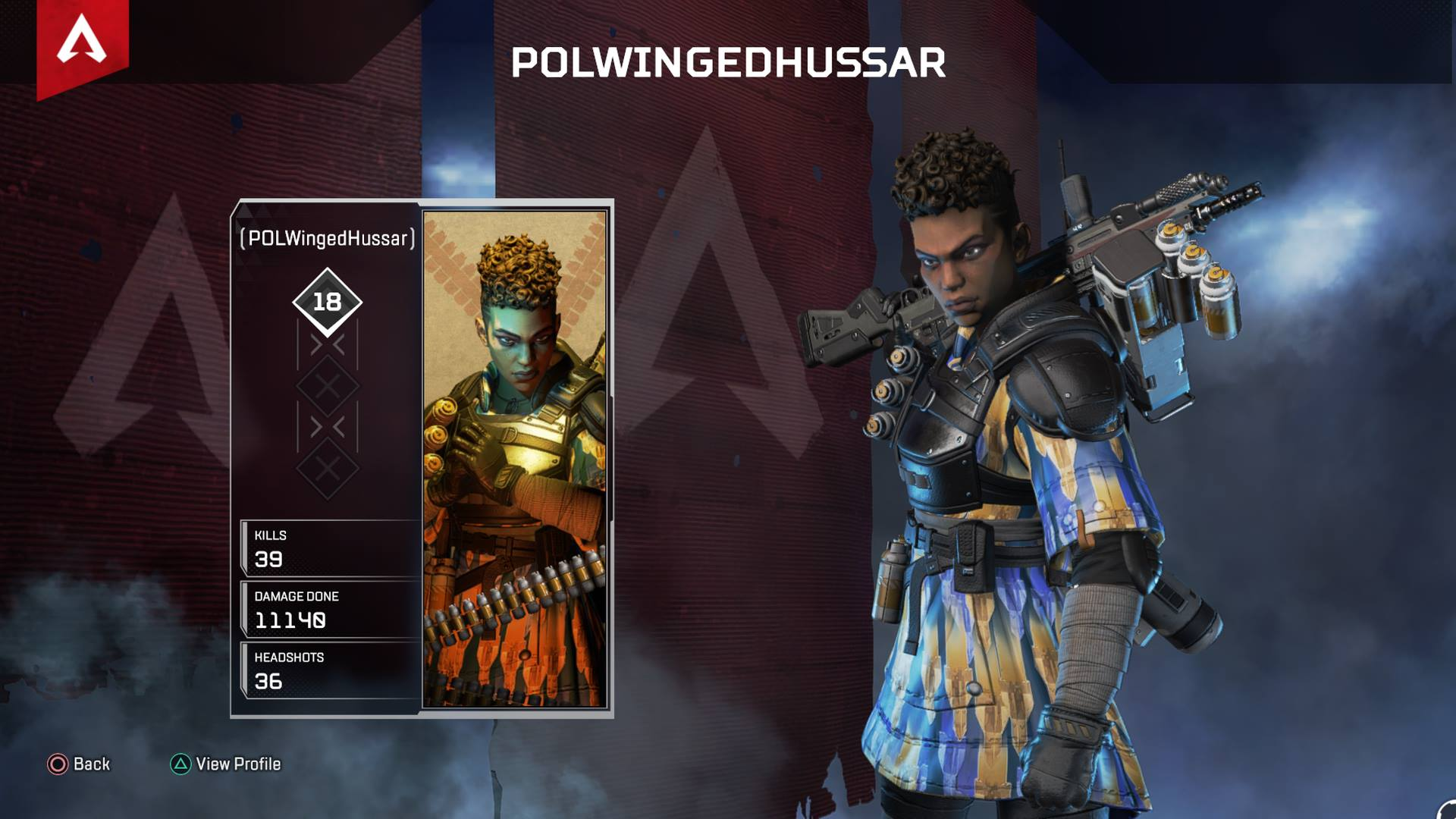 In Apex Legends, your stats are tied to each individual Legend rather than your profile as a whole.