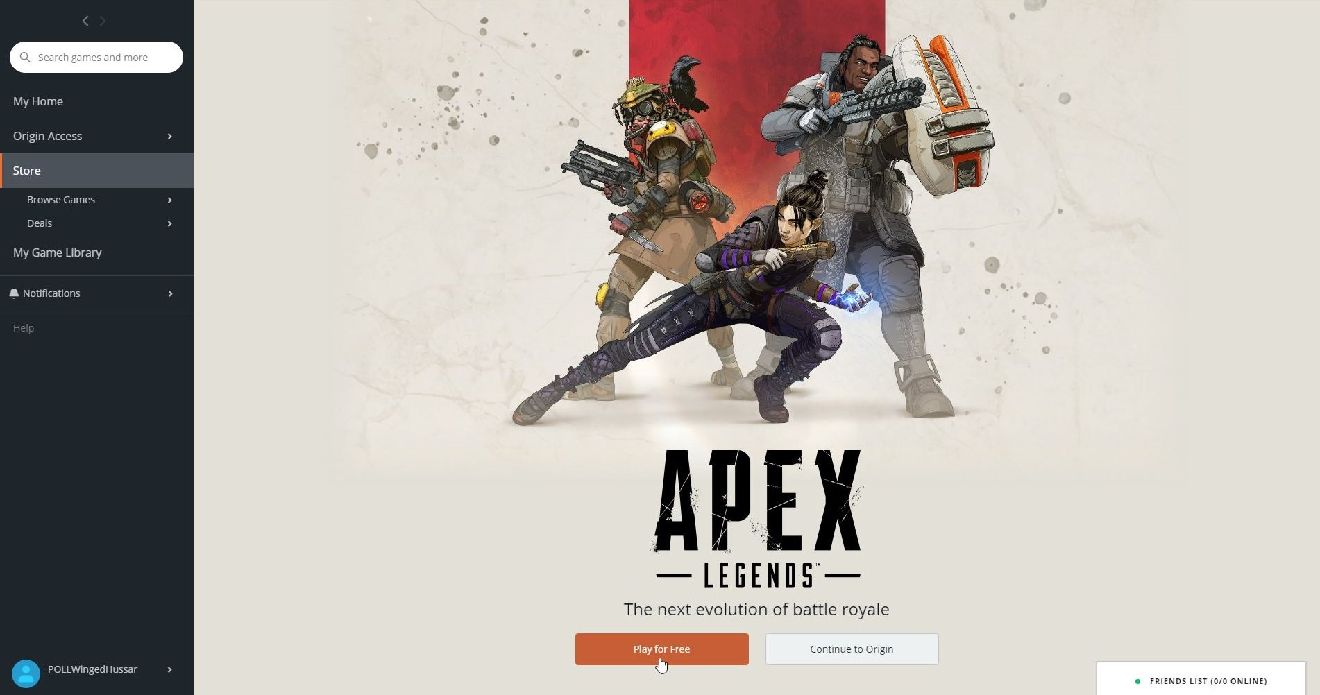Apex Legends can be found on the Origin Store. To download and add it to your Game Library, click the