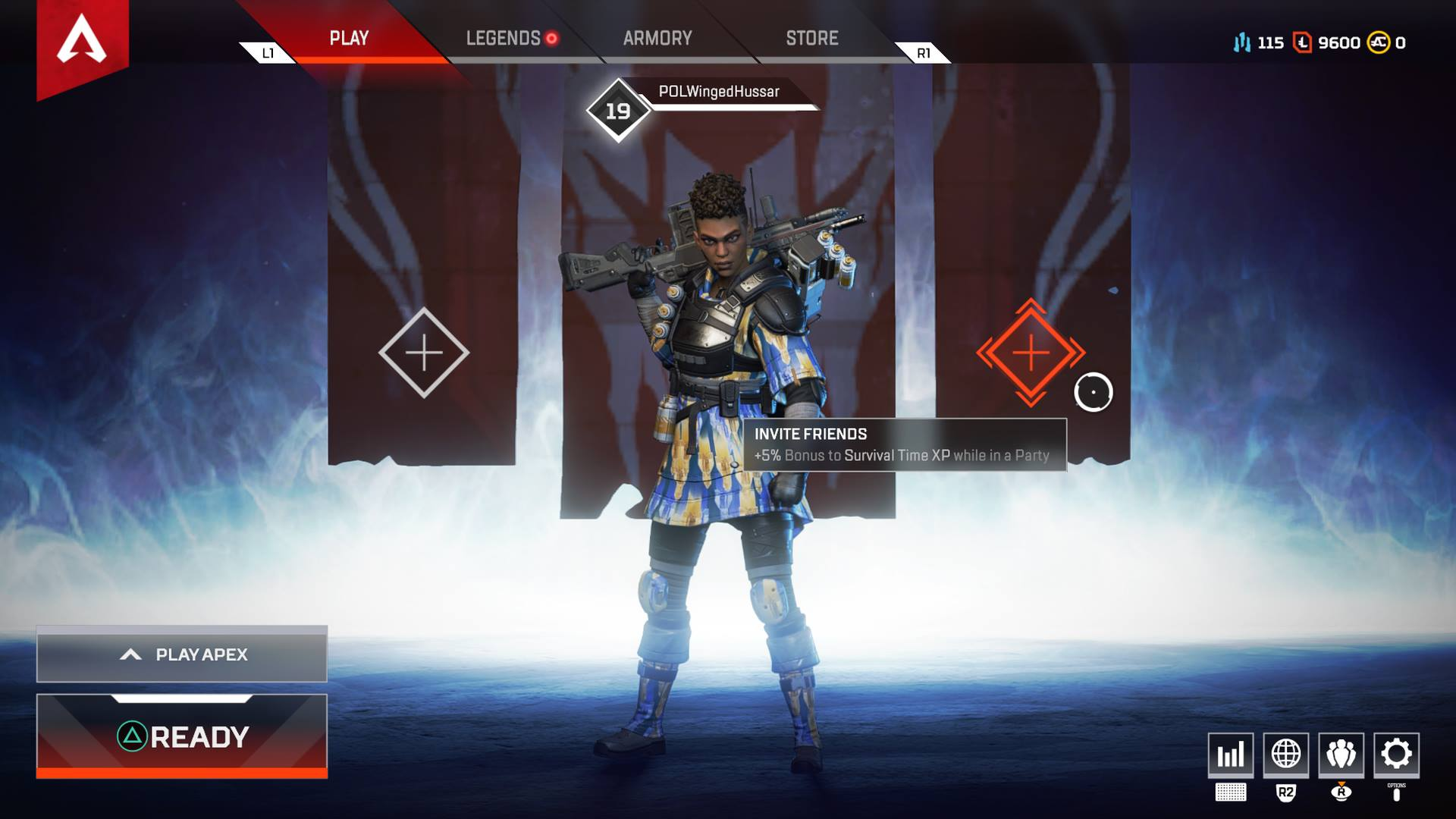 Playing in a party with your friends grants you a + 5 XP bonus to Survival Time XP in Apex Legends.