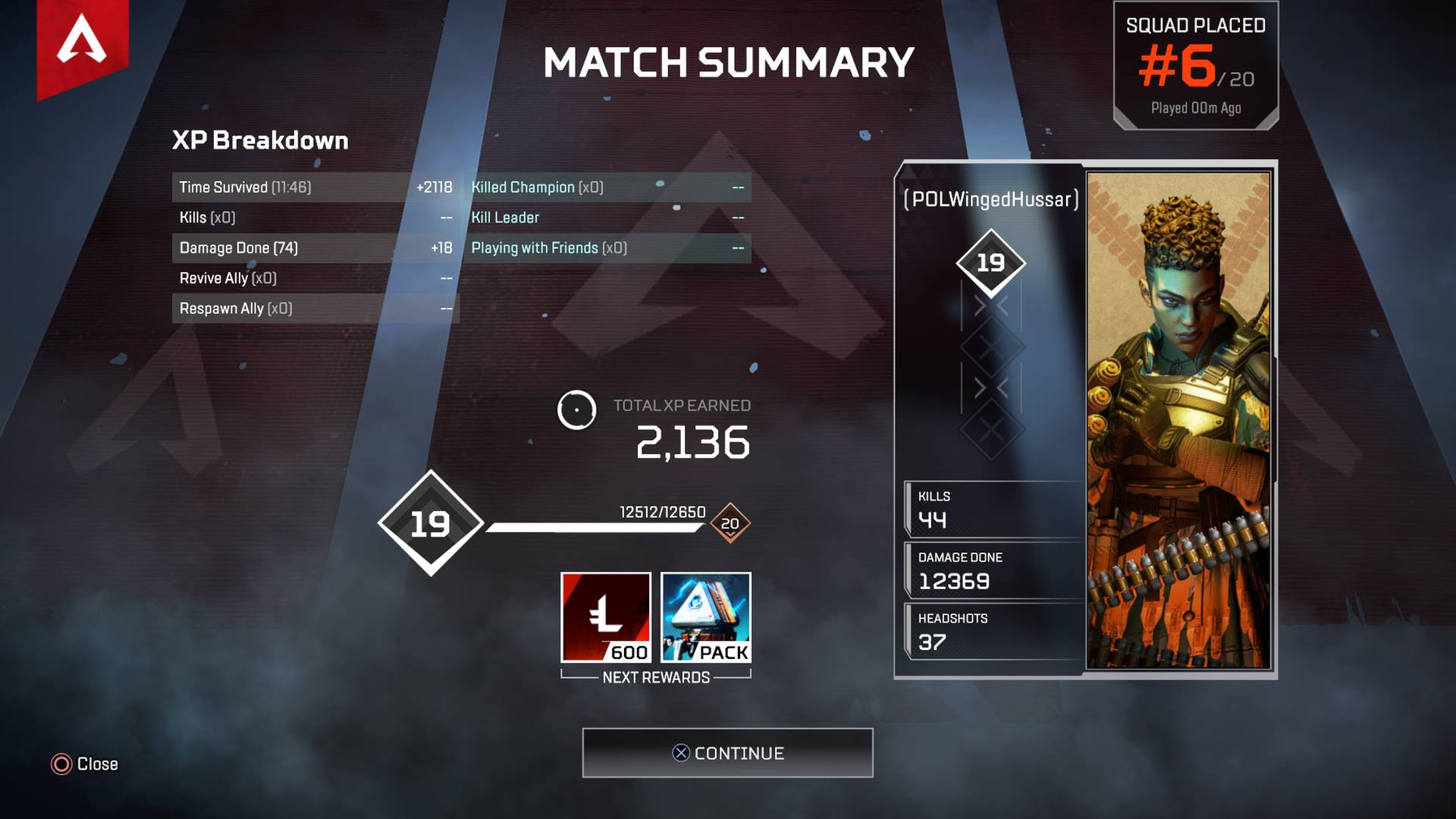 At the end of each match, you can view a summary of your performance and a breakdown of the XP you earned in Apex Legends.