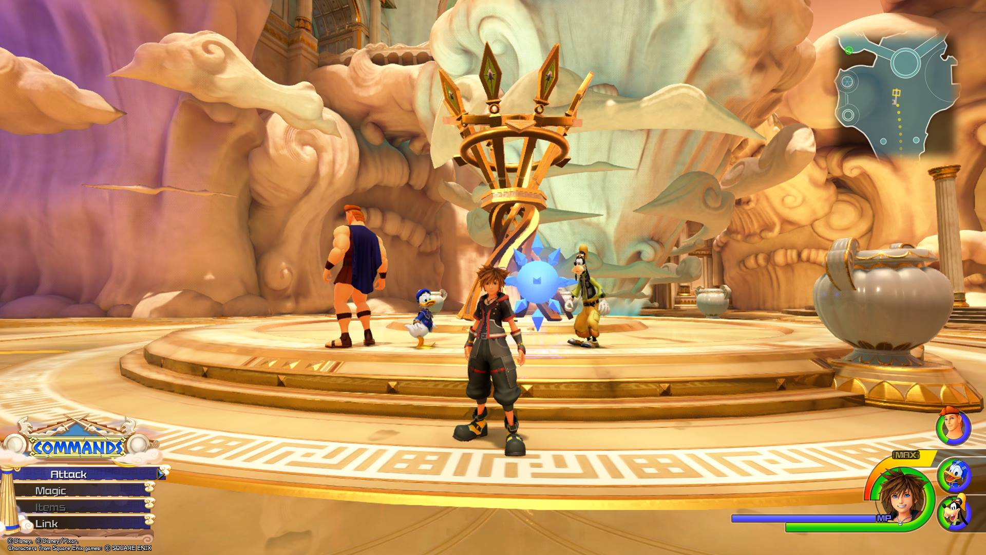 The first Battlegate in Kingdom Hearts 3 is located in the Summit area of Olympus.