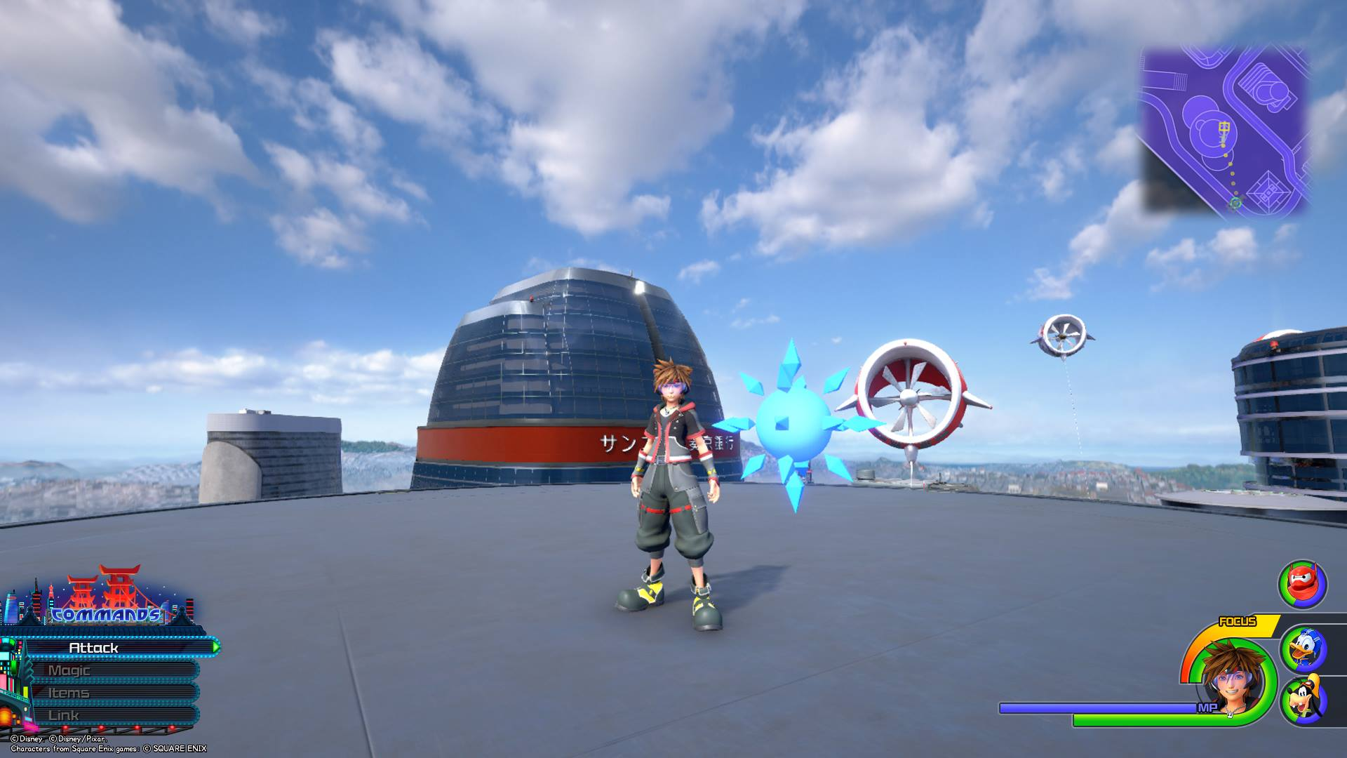 The twelfth Battlegate in Kingdom Hearts 3 can be found at the top of a large building in San Fransokyo.