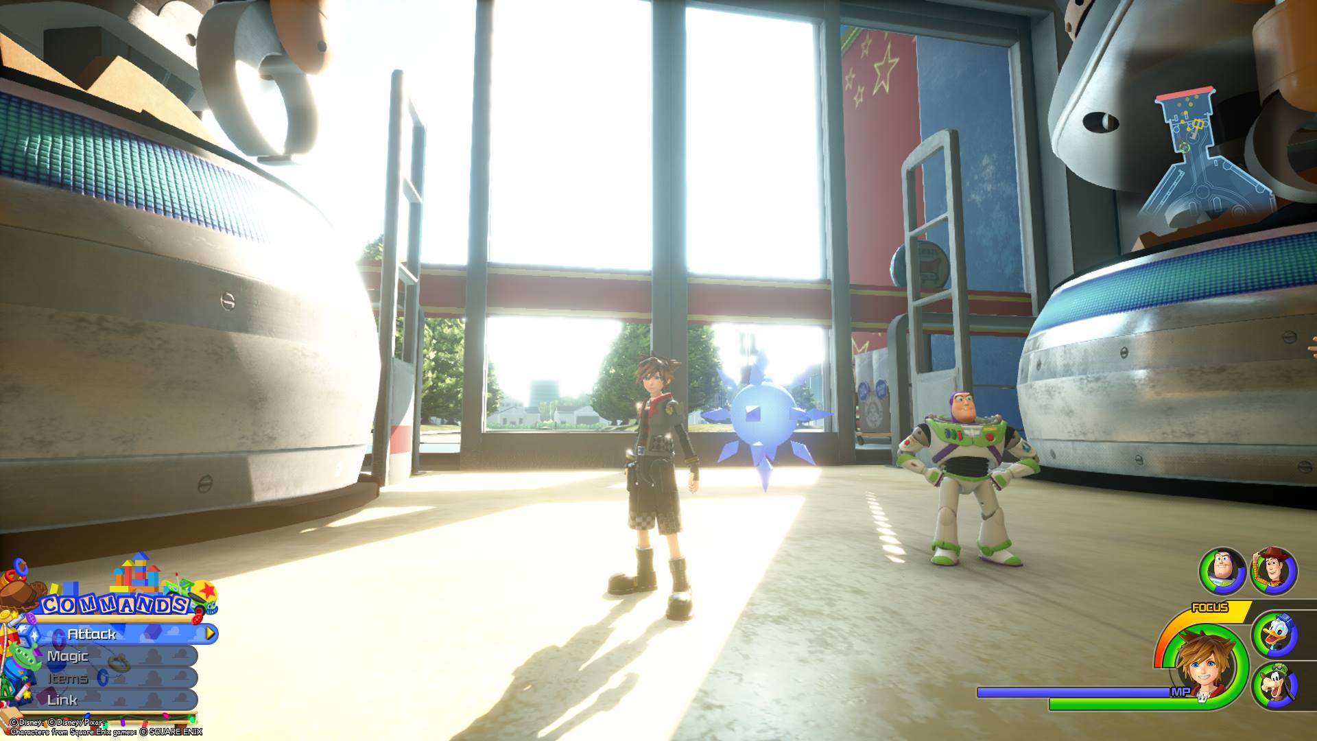 The fifth Battlegate in Kingdom Hearts 3 is located in the Galaxy Toys entrance area of Toy Box.