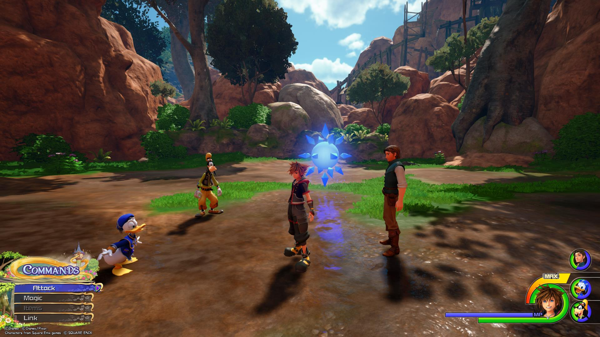 The sixth Battlegate in Kingdom Hearts 3 is located in the Wildflower Clearing area of Kingdom of Corona.