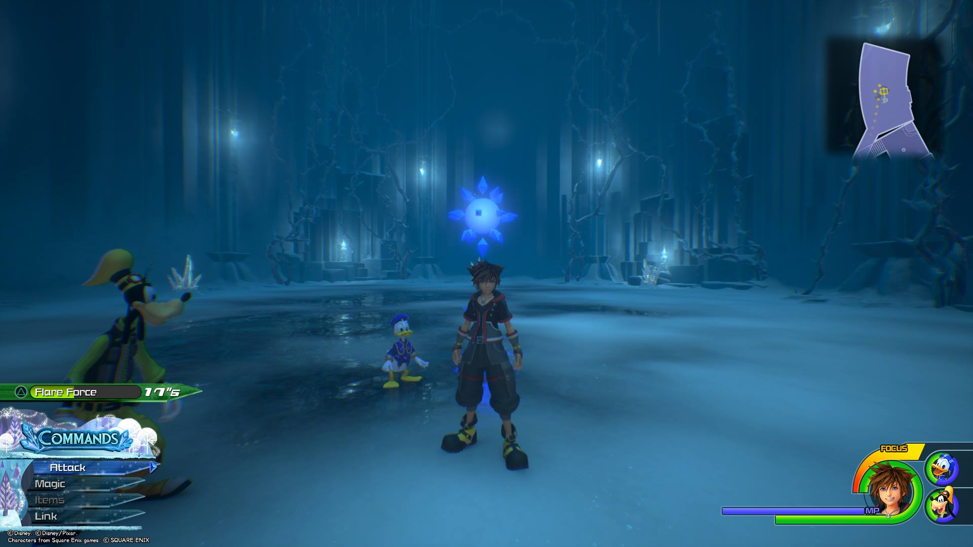 The ninth Battlegate in Kingdom Hearts 3 can be found in the Labyrinth area of Arendelle.
