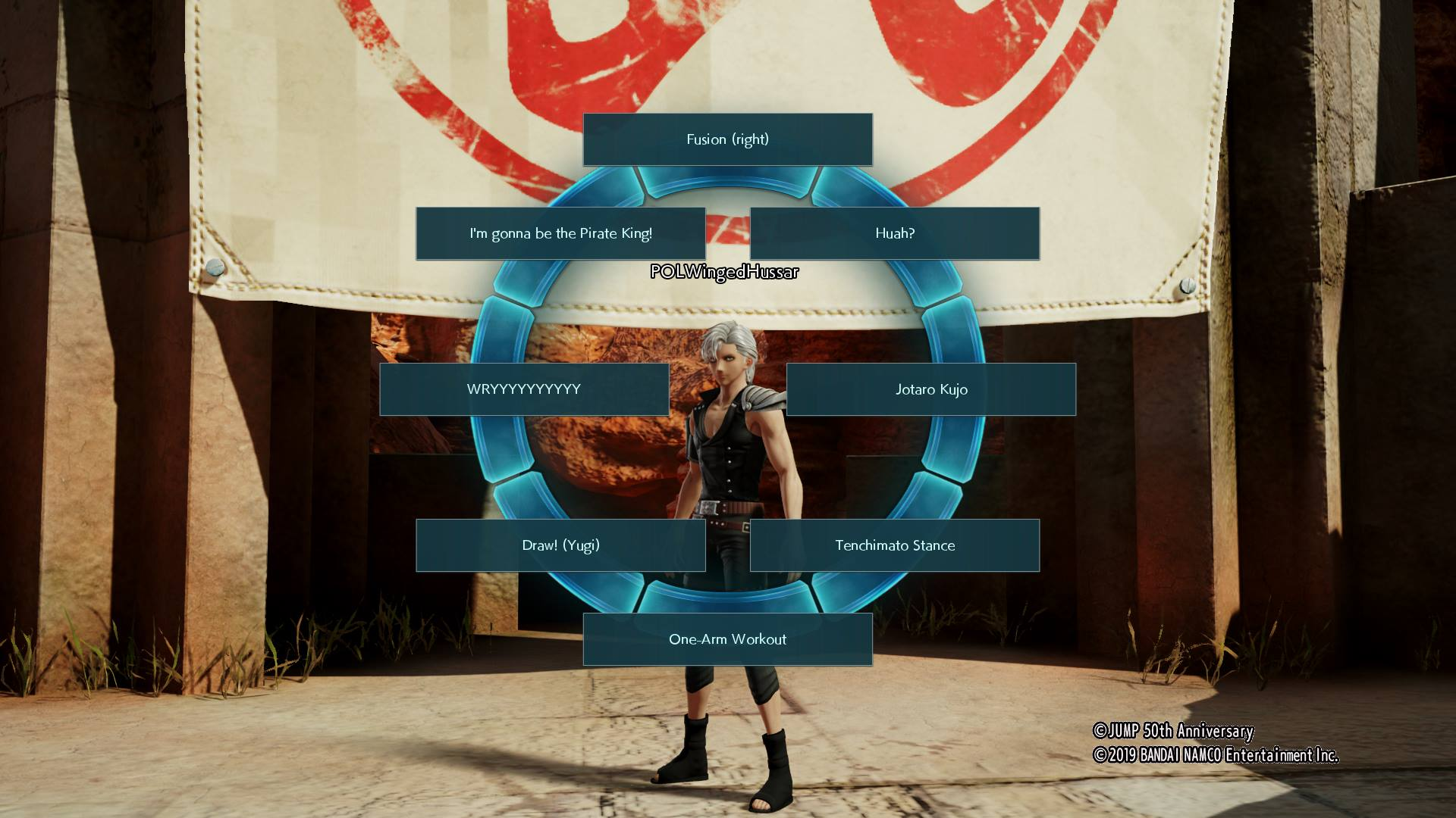 Access your Emoticon Wheel in Jump Force by holding R1 or RB while in Umbras Base.