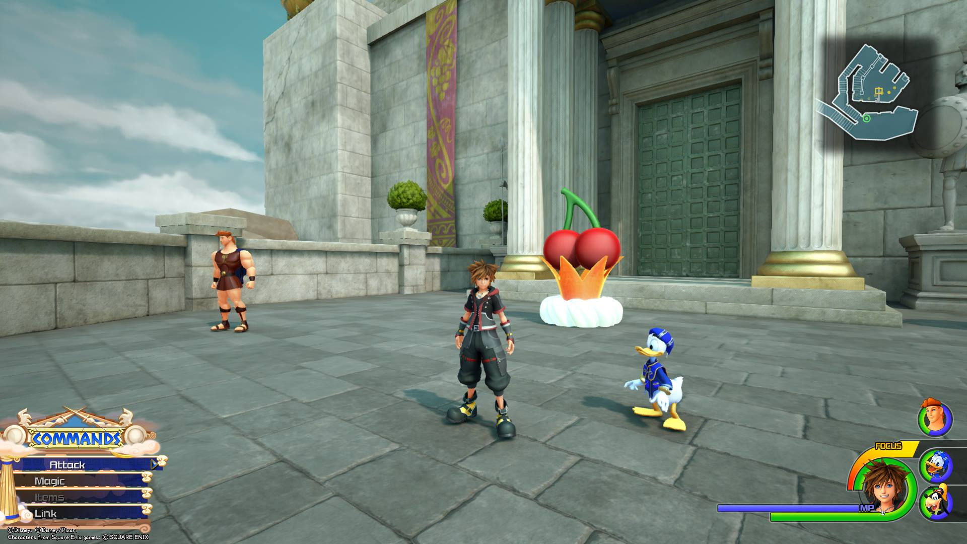 The first Flantastic Seven member can be found in the Overlook area of Thebes in the Olympus world of Kingdom Hearts 3.