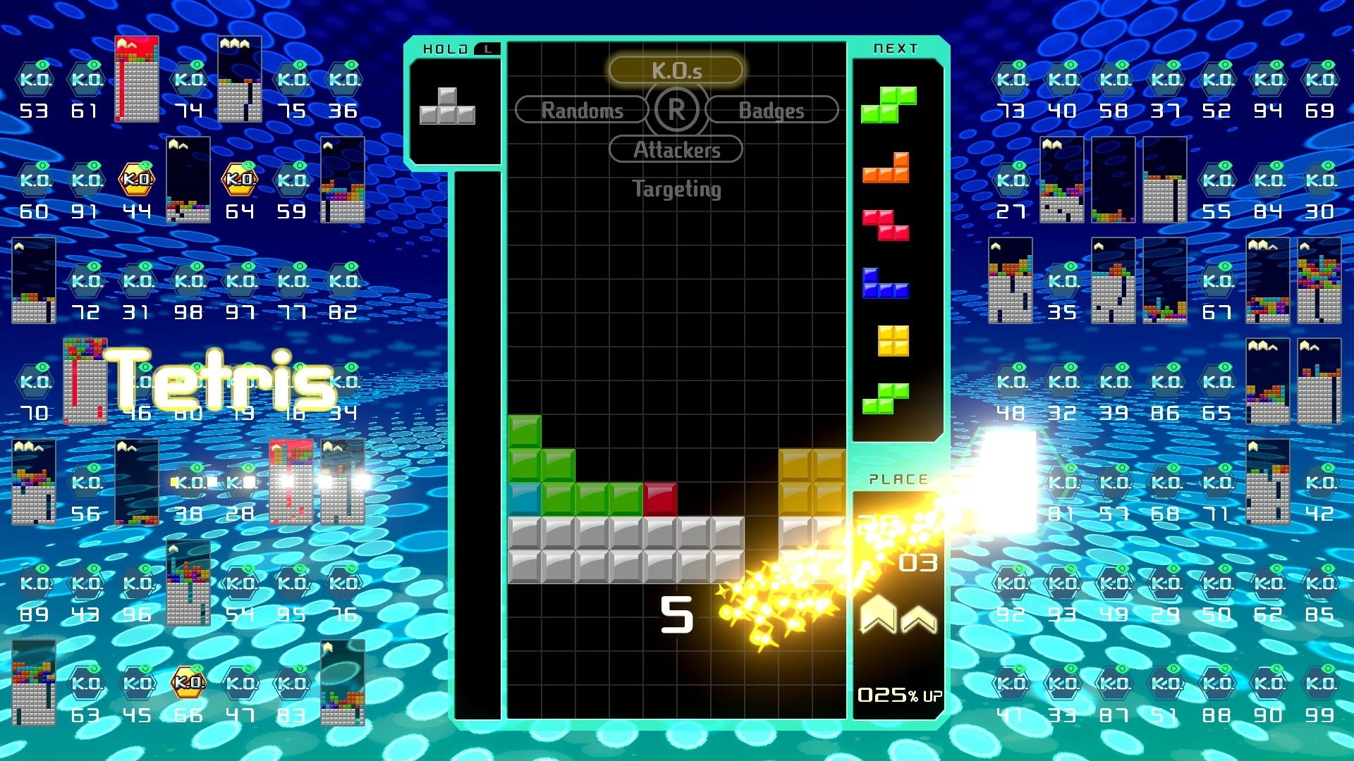 Tetris 99 works similarly to other Tetris games in that the goal is to build and clear lines in order to earn points.