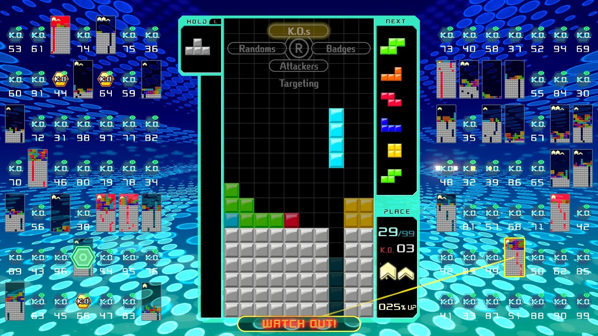 You can view your badges and badge progress at the bottom right corner of your Matrix in Tetris 99.