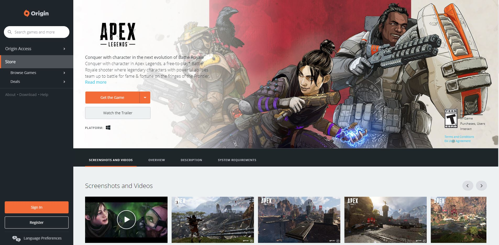 To download Apex Legends for PC, you can visit the game's official page on the Origin website, or find it in the Origin Store.