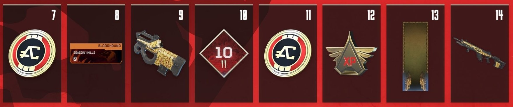 Apex Legends Battle Pass Rewards Levels 7-14
